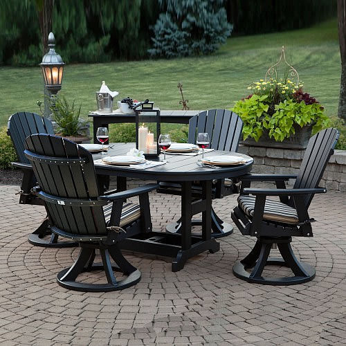 Berlin Gardens Garden Classic Oblong Swivel Dining Set Comfo Back Berlin Gardens Poly
