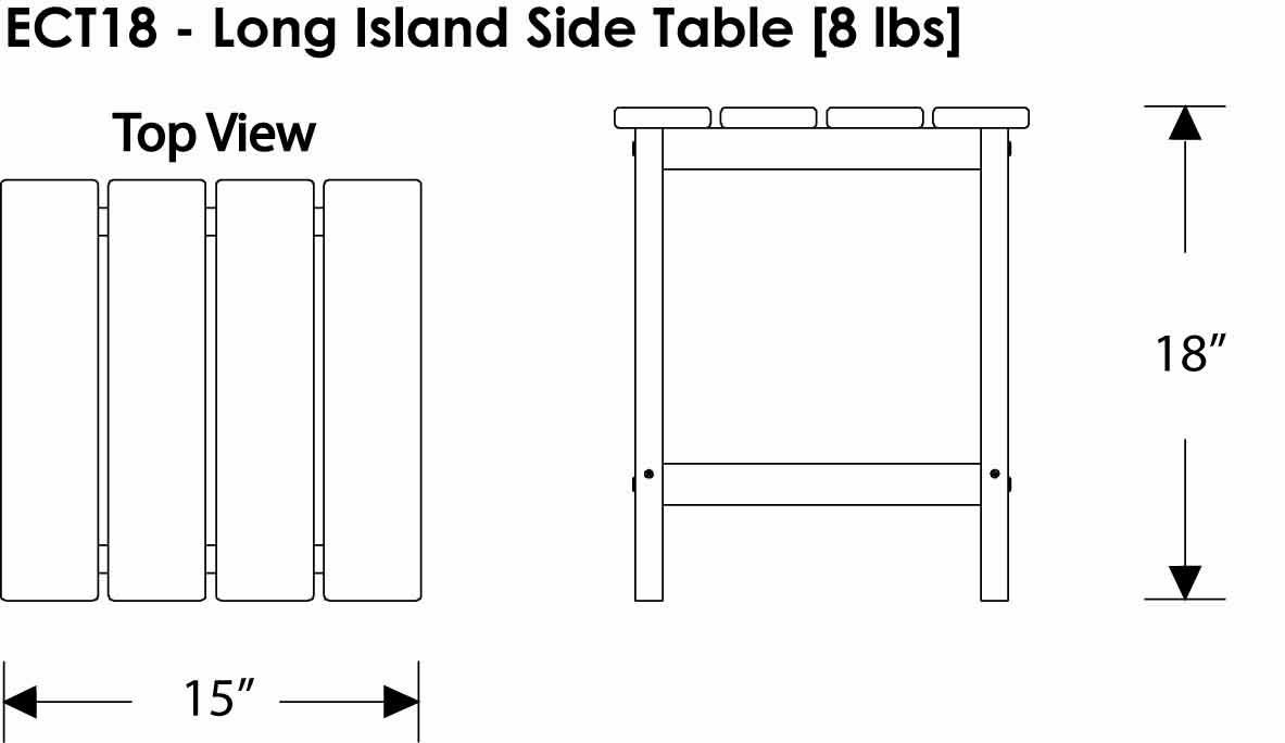 Polywood Long Island 18 Or 26 In Side Table Long Island