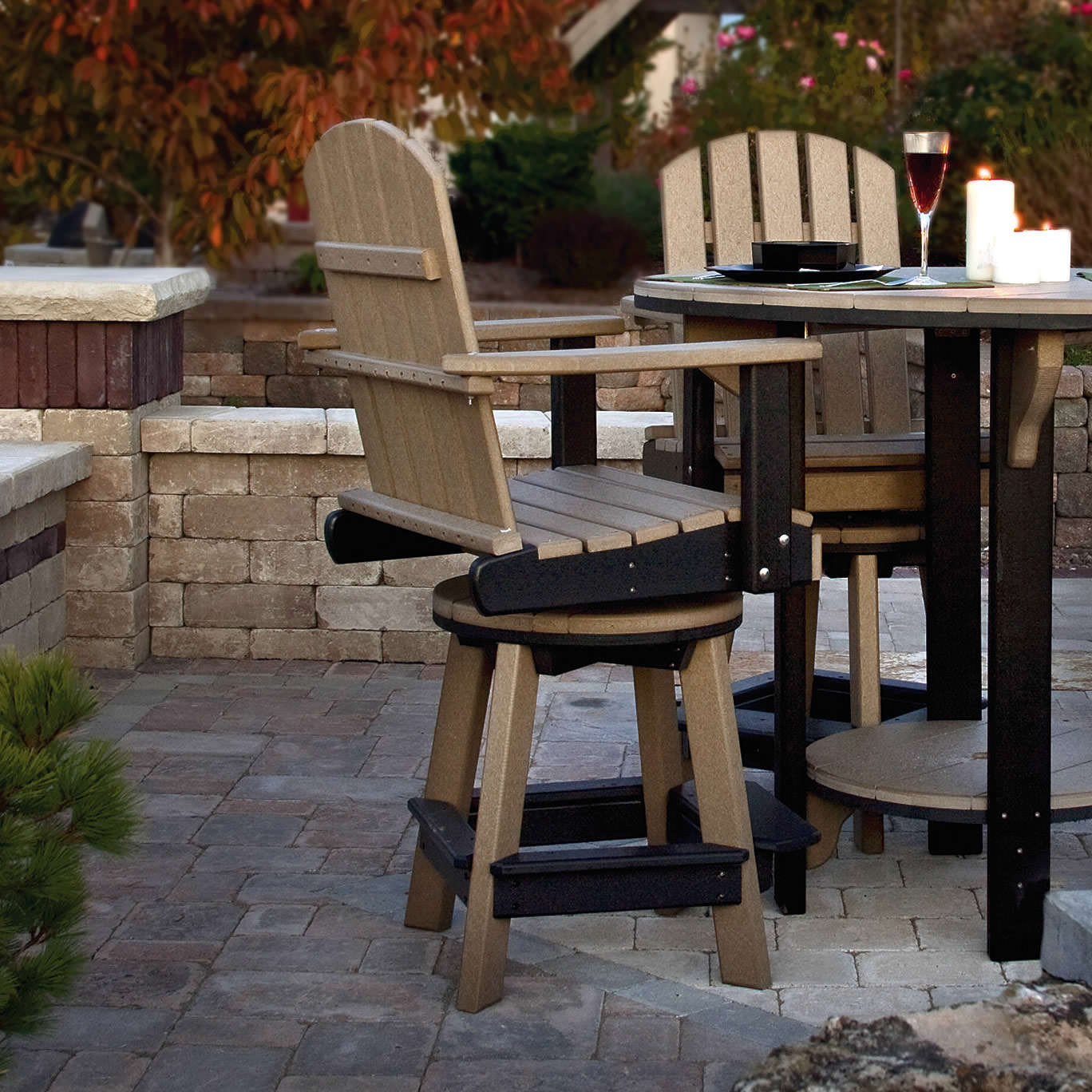Amish Poly Wood Swivel Pub Chair Leisure Lawns