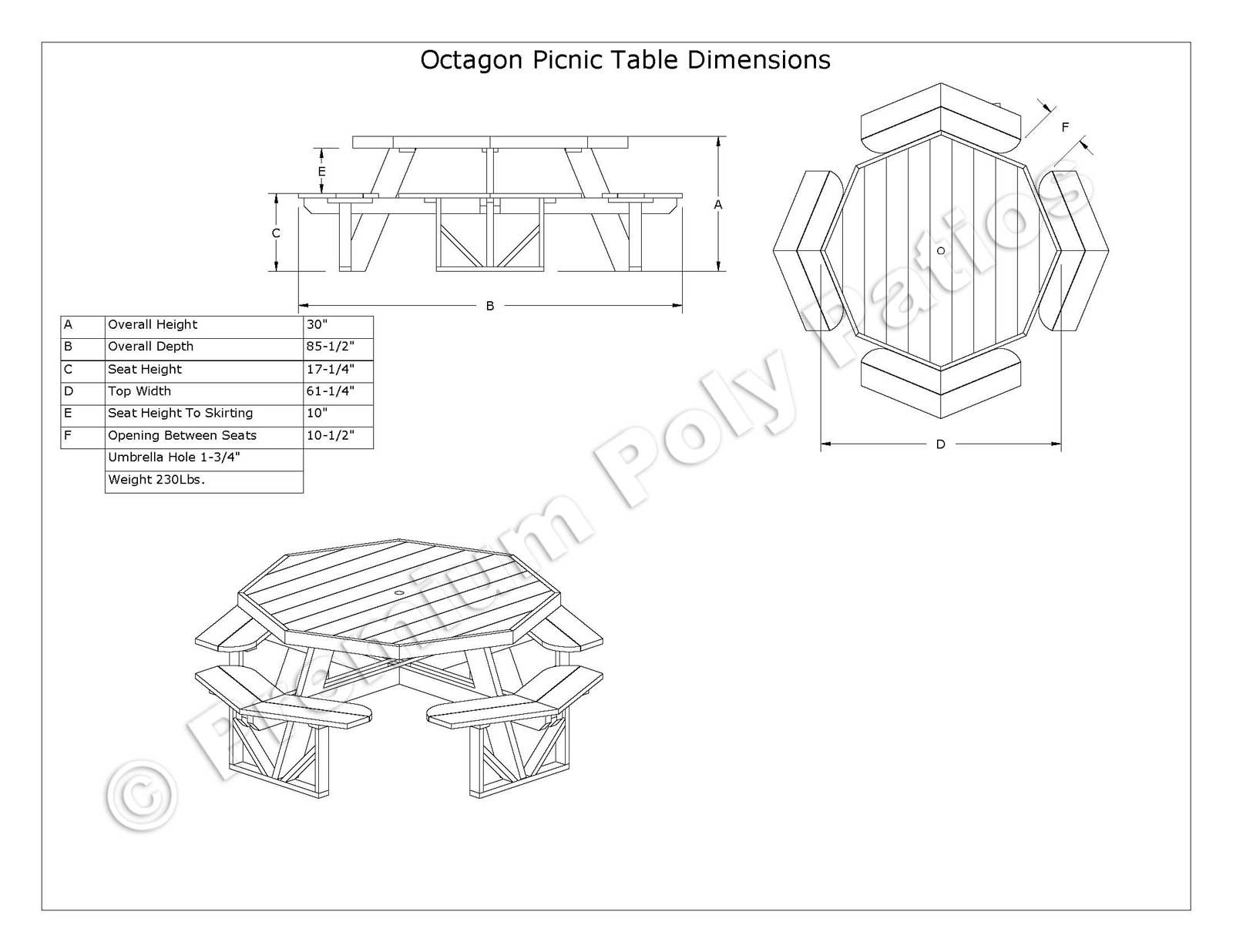 Luxcraft Crestville 174 Octagon Picnic Table Luxcraft