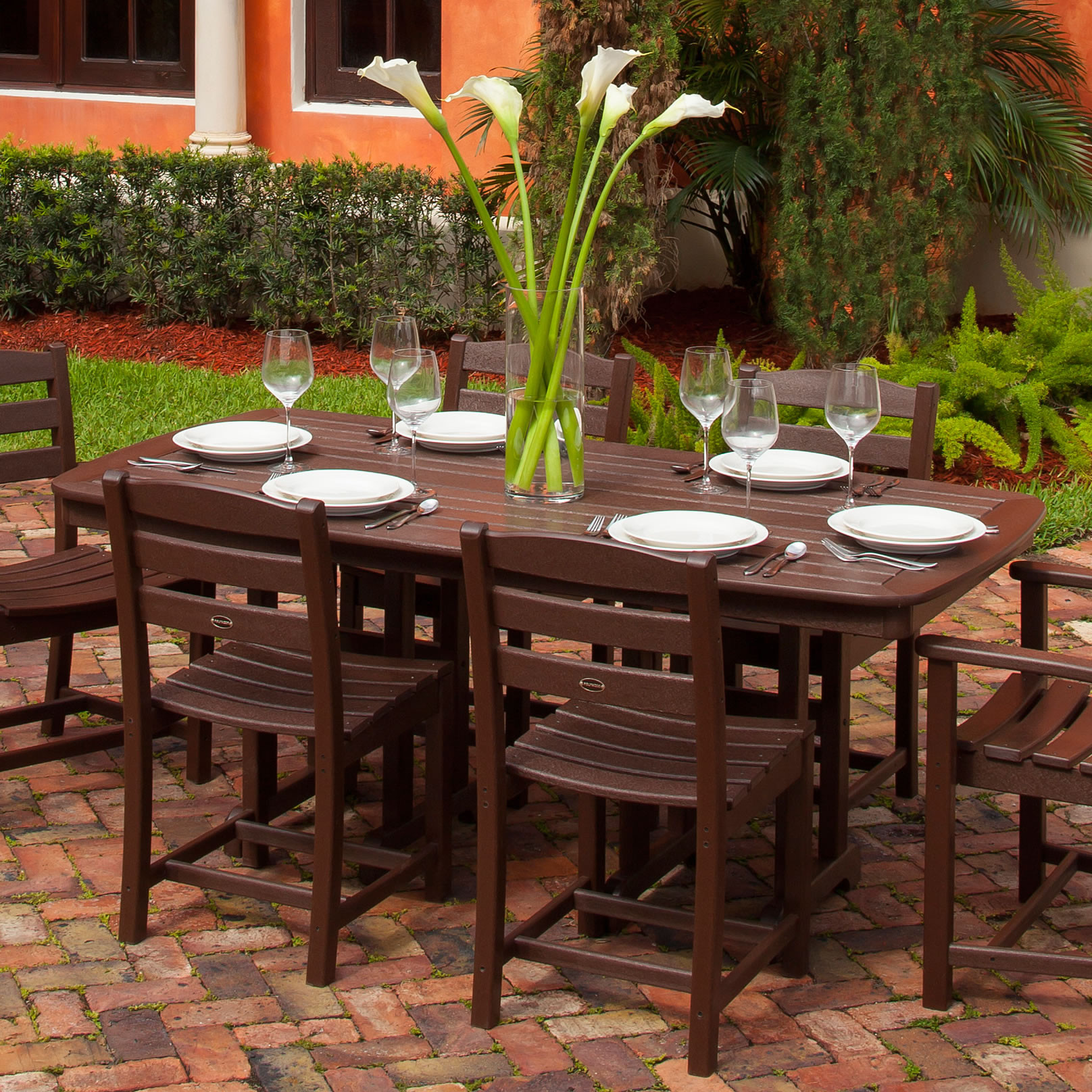 POLYWOOD Nautical 37 x 72 in Dining Table Nautical Collection POLYWOOD Outdoor Furniture