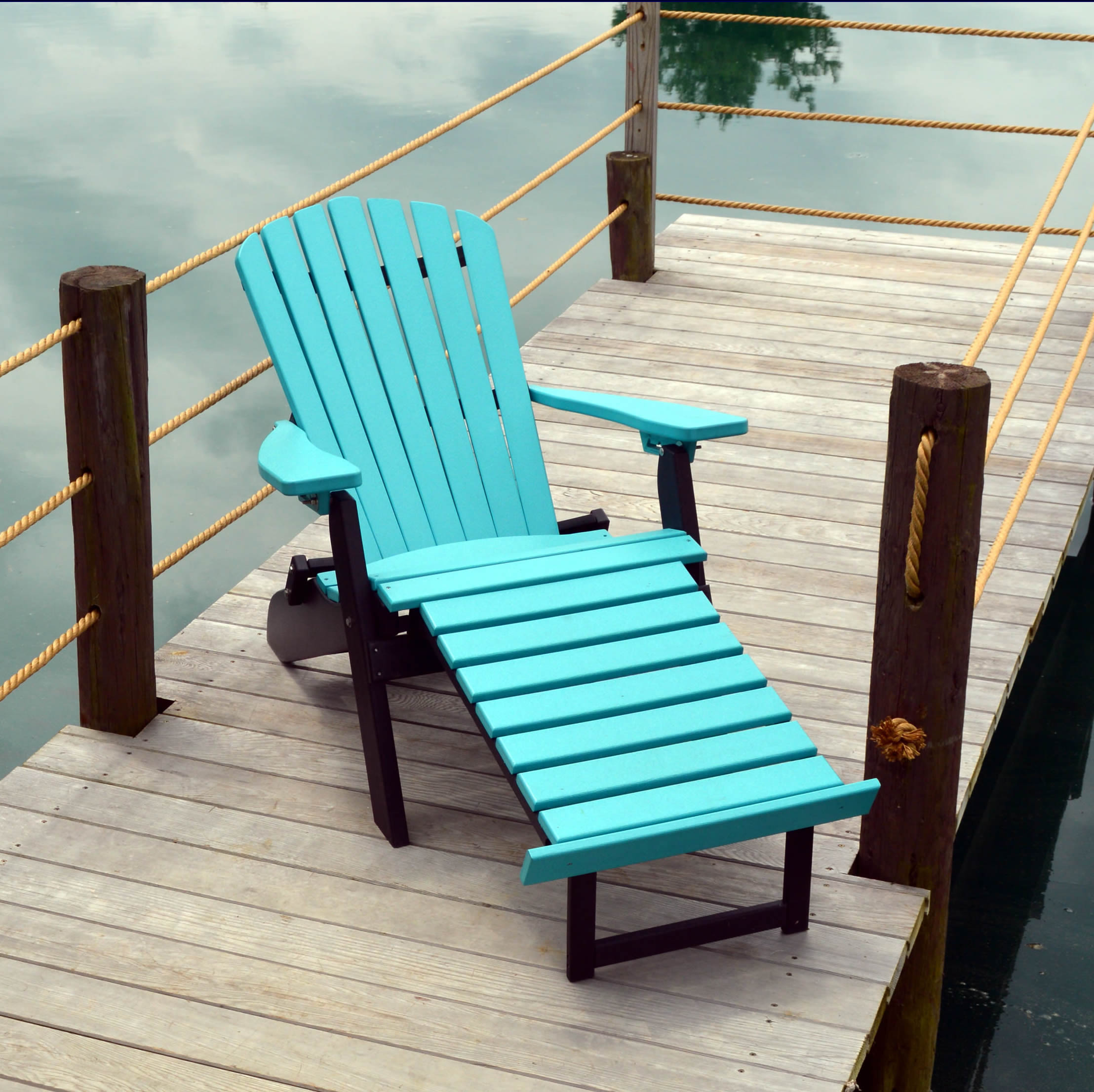 A&L Furniture Poly Folding/Reclining Adirondack Chair with Pullout Ottoman