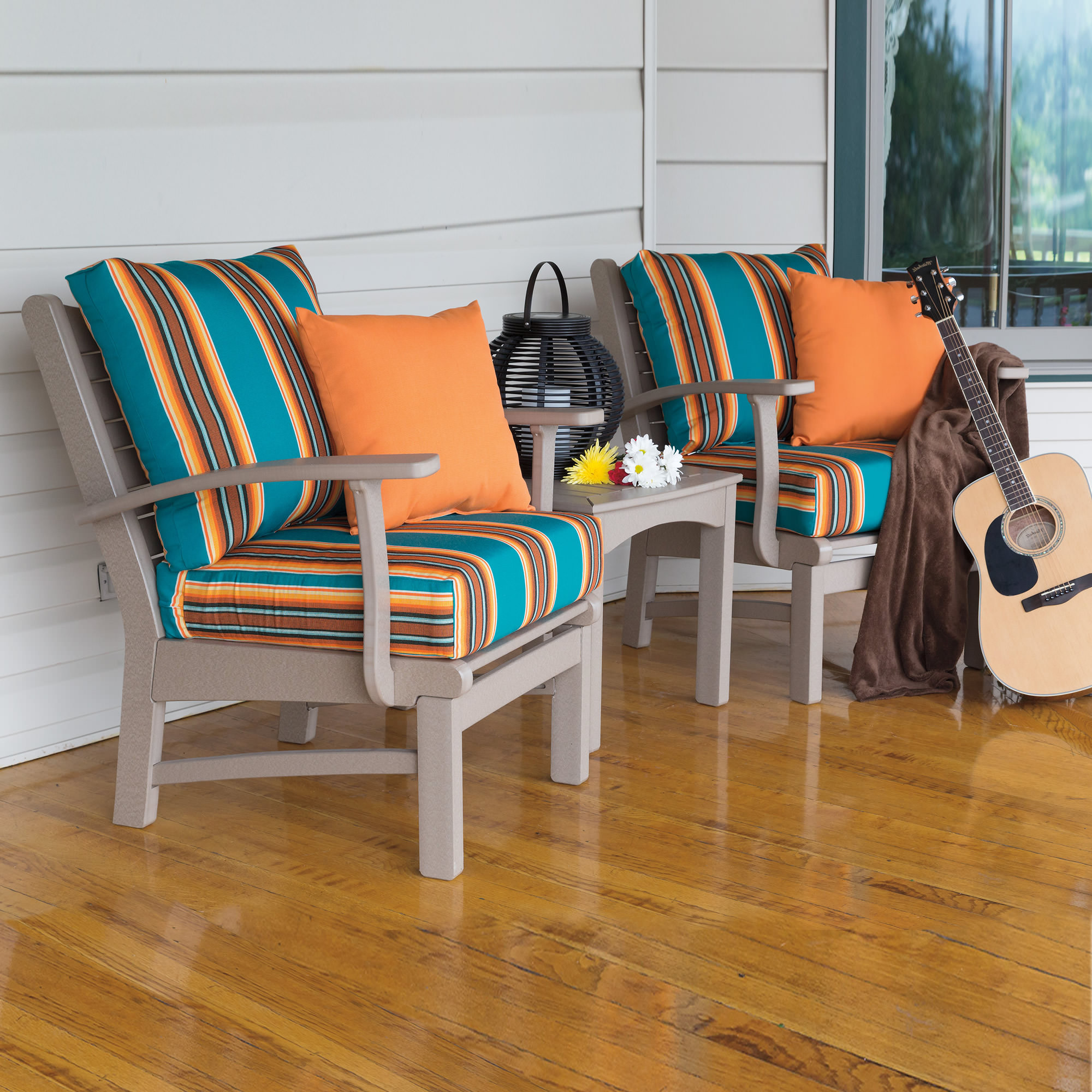 Casual Comfort Poly Lumber Bayshore Club Chair 3 pc Conversation Set