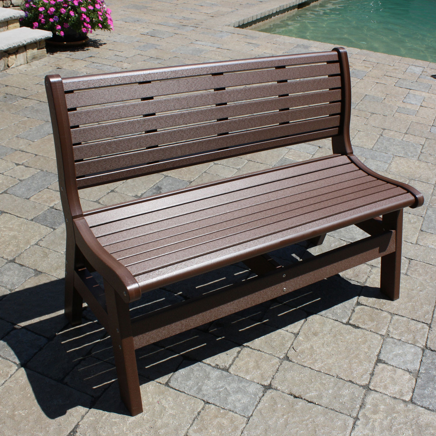 Malibu Outdoor Newport 48 in Bench with Back