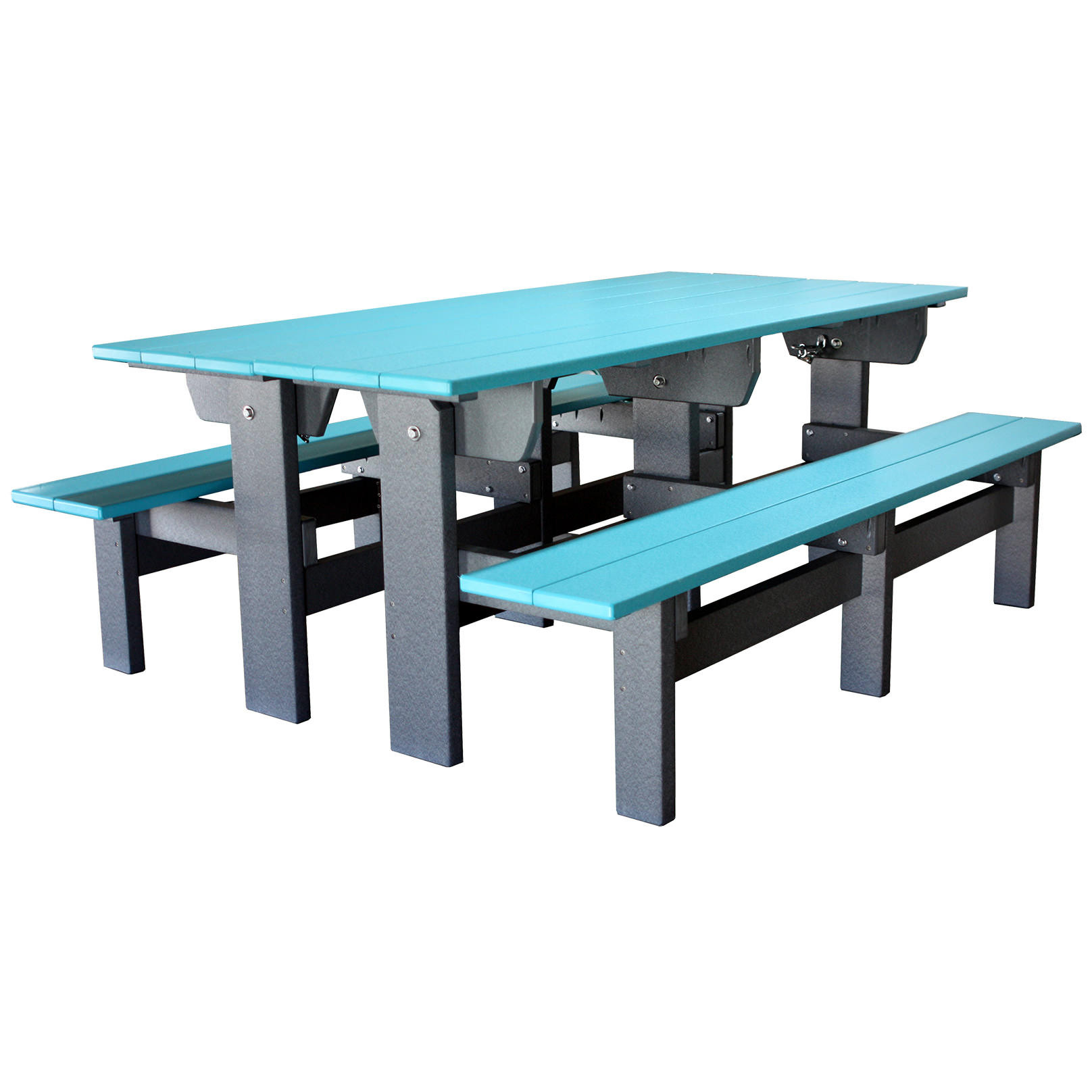 Amish Poly 6 Park Bench Table Set Country Creek Poly Furniture