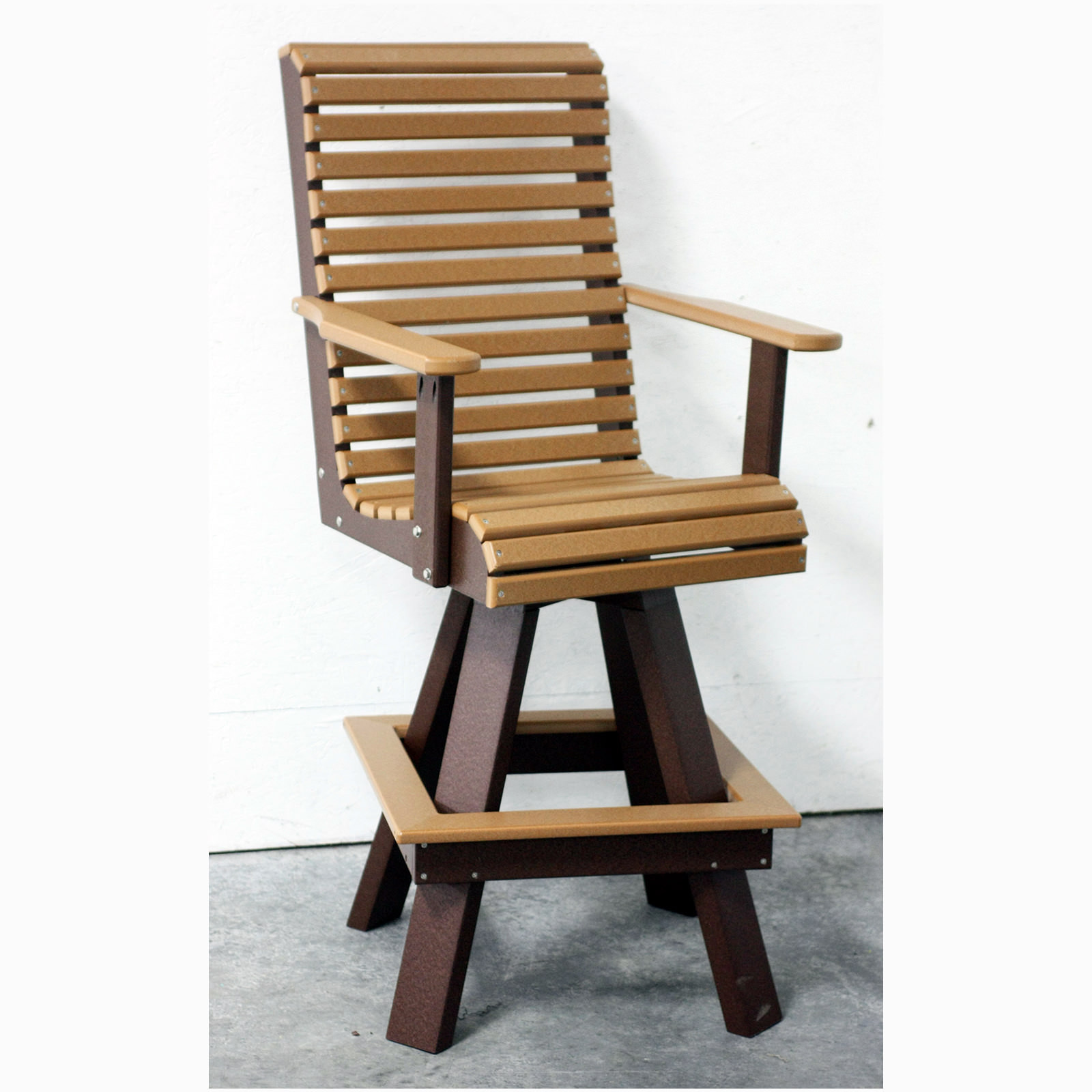Amish Poly Rollback Swivel Bar Chair