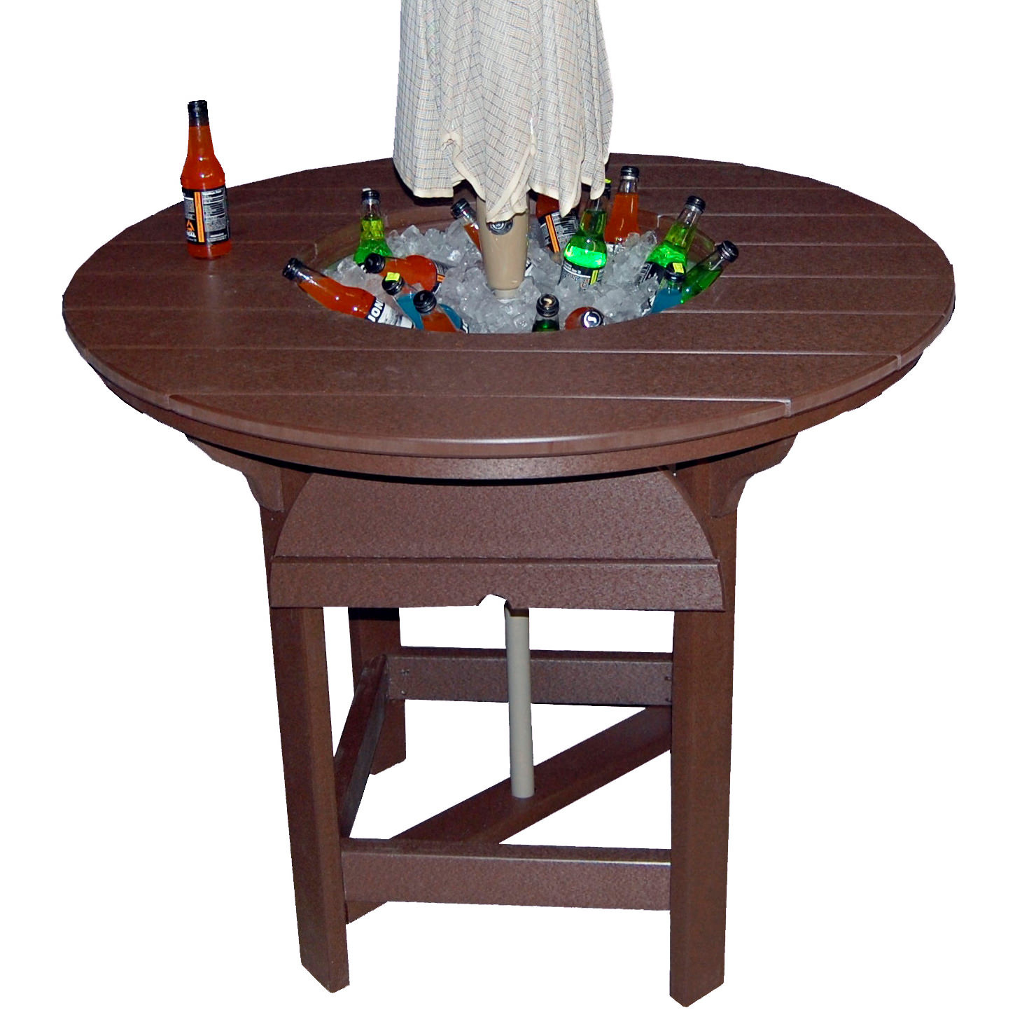 Amish Poly 48in Round Balcony Table w/Bowl