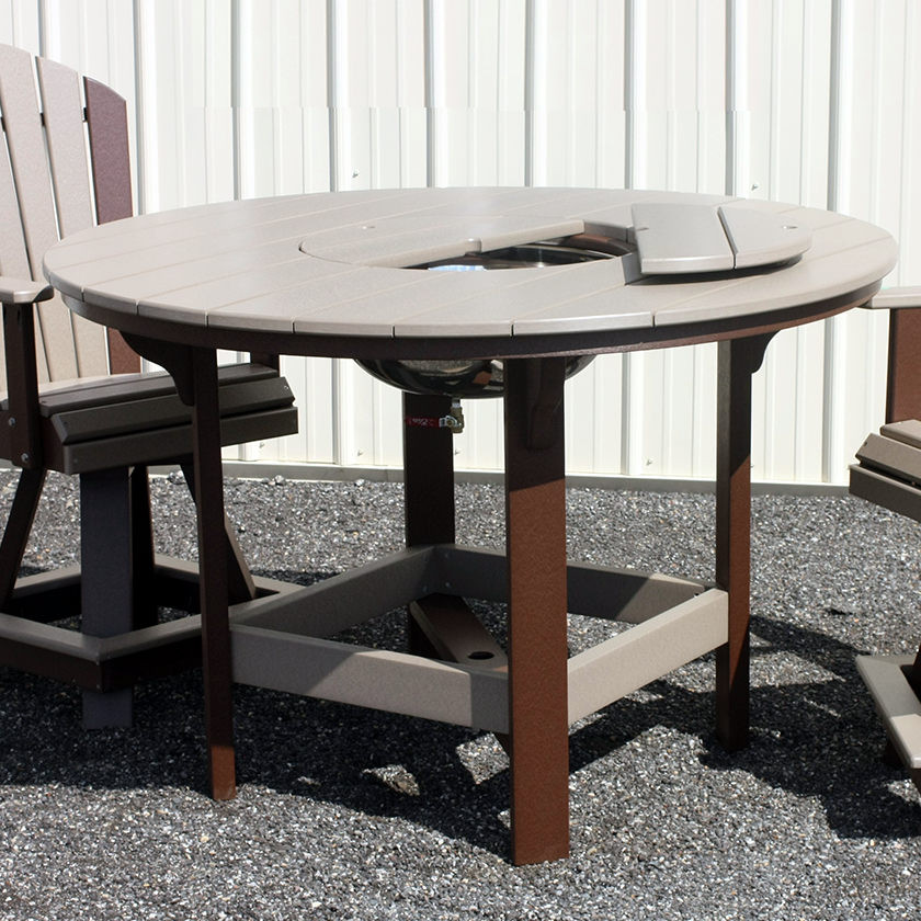 Amish Poly 54in Round Balcony Table w/Bowl