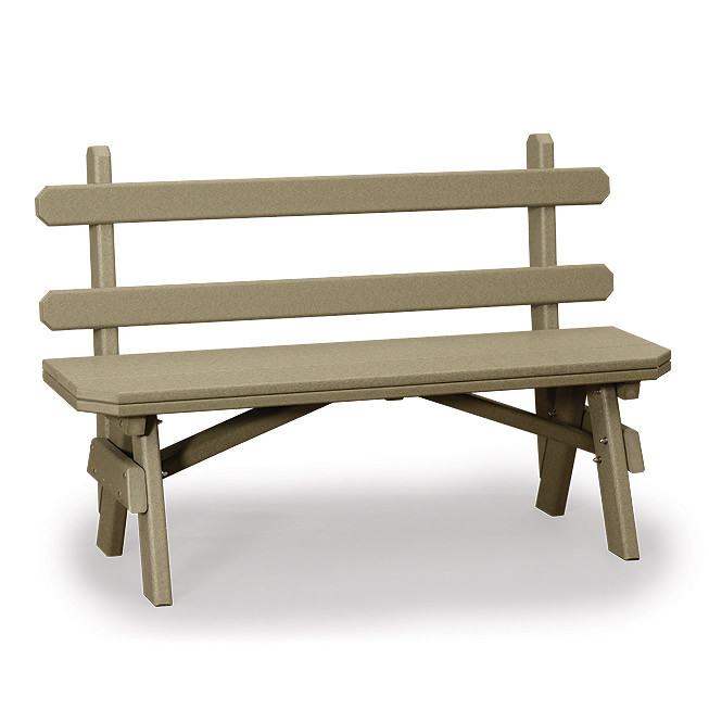 Amish Poly Wood 28in X-Wide Garden Bench w/Back