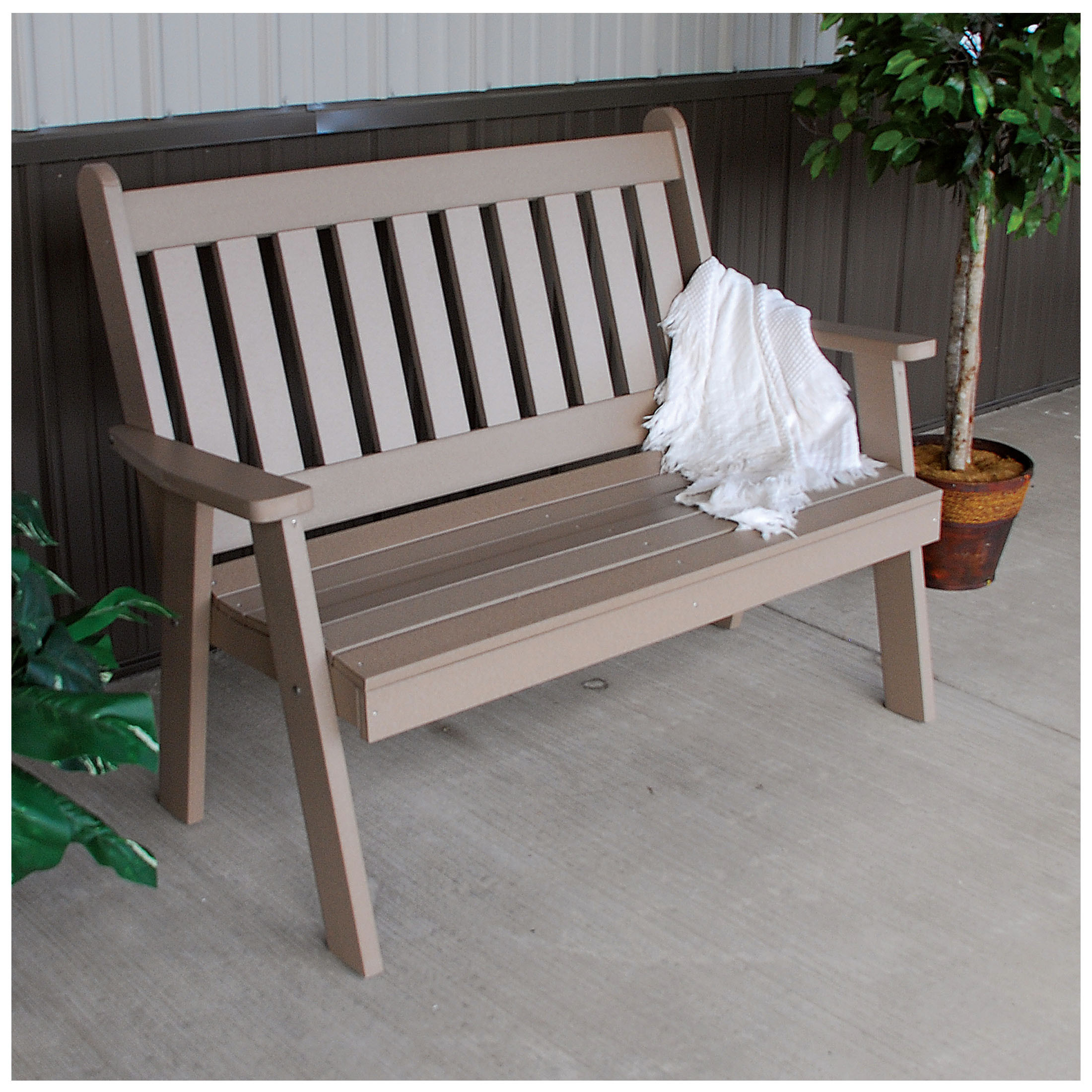 A&L Furniture 4 ft Poly Traditional English Garden Bench