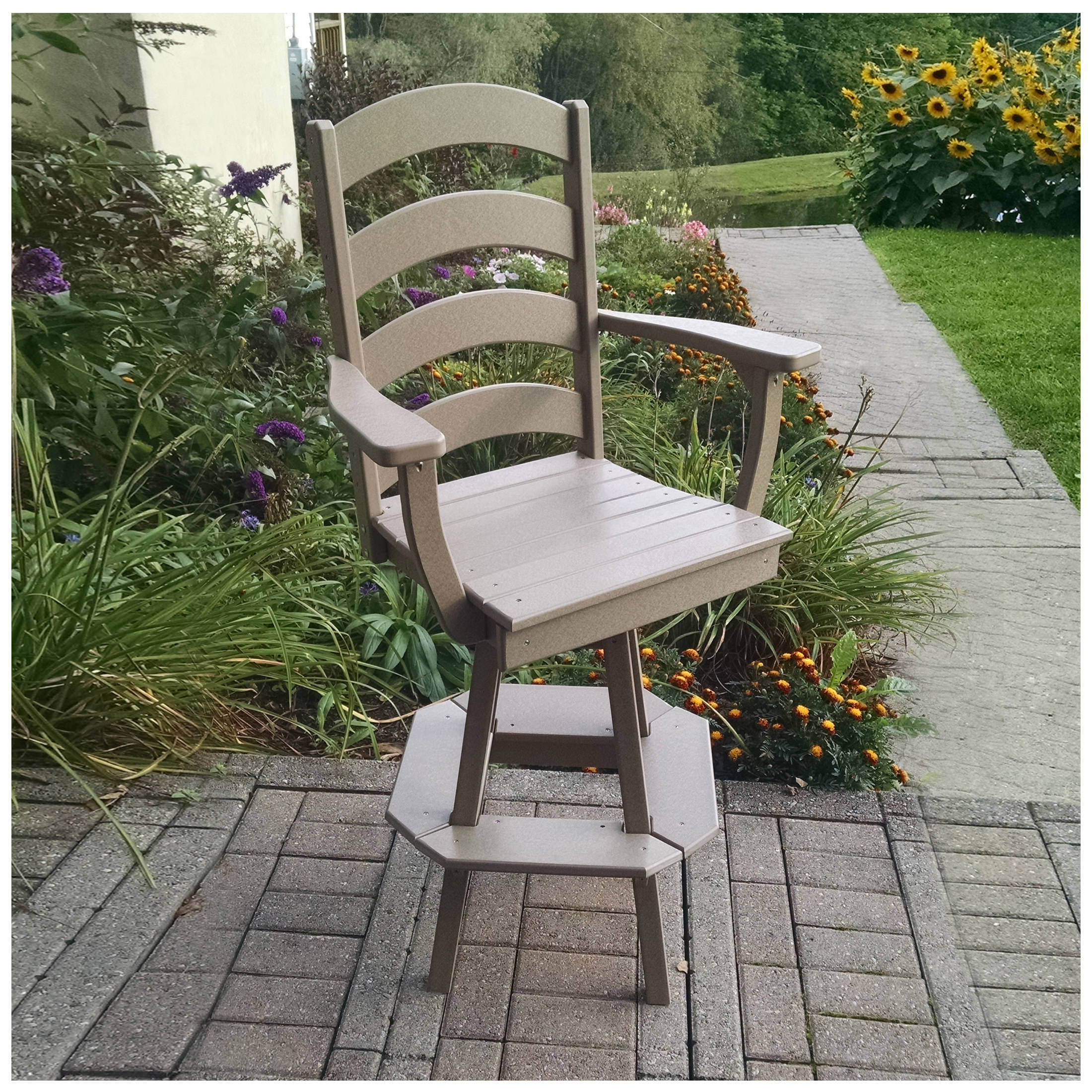 A&L Furniture Ladderback Swivel Bar Chair with Arms
