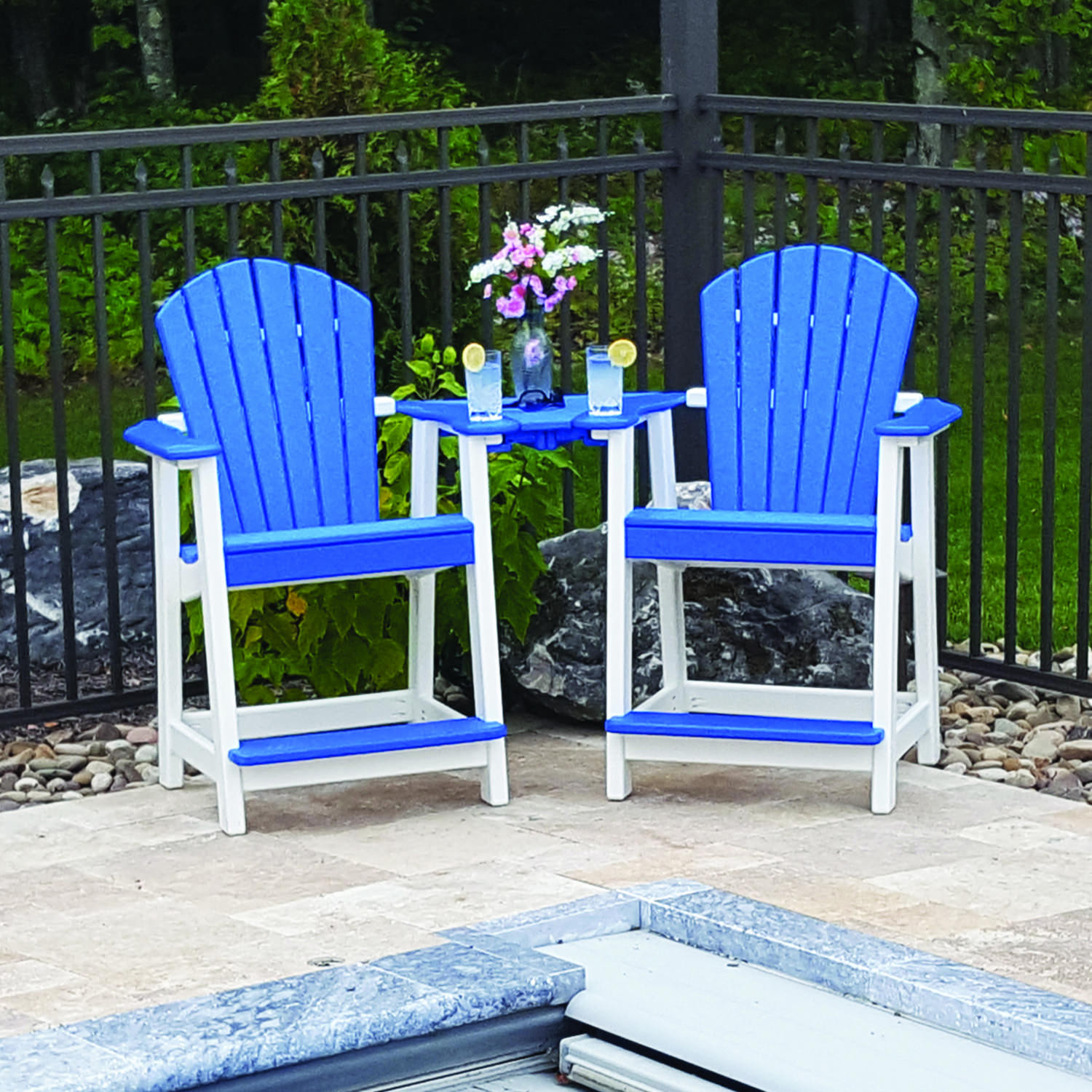 Amish Poly Comfy-Back Counter Height Settee Set