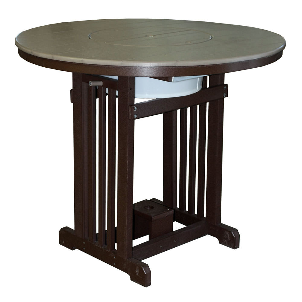 """Amish Poly Wood 48"""" Round Pub Table w/Party Bowl"""