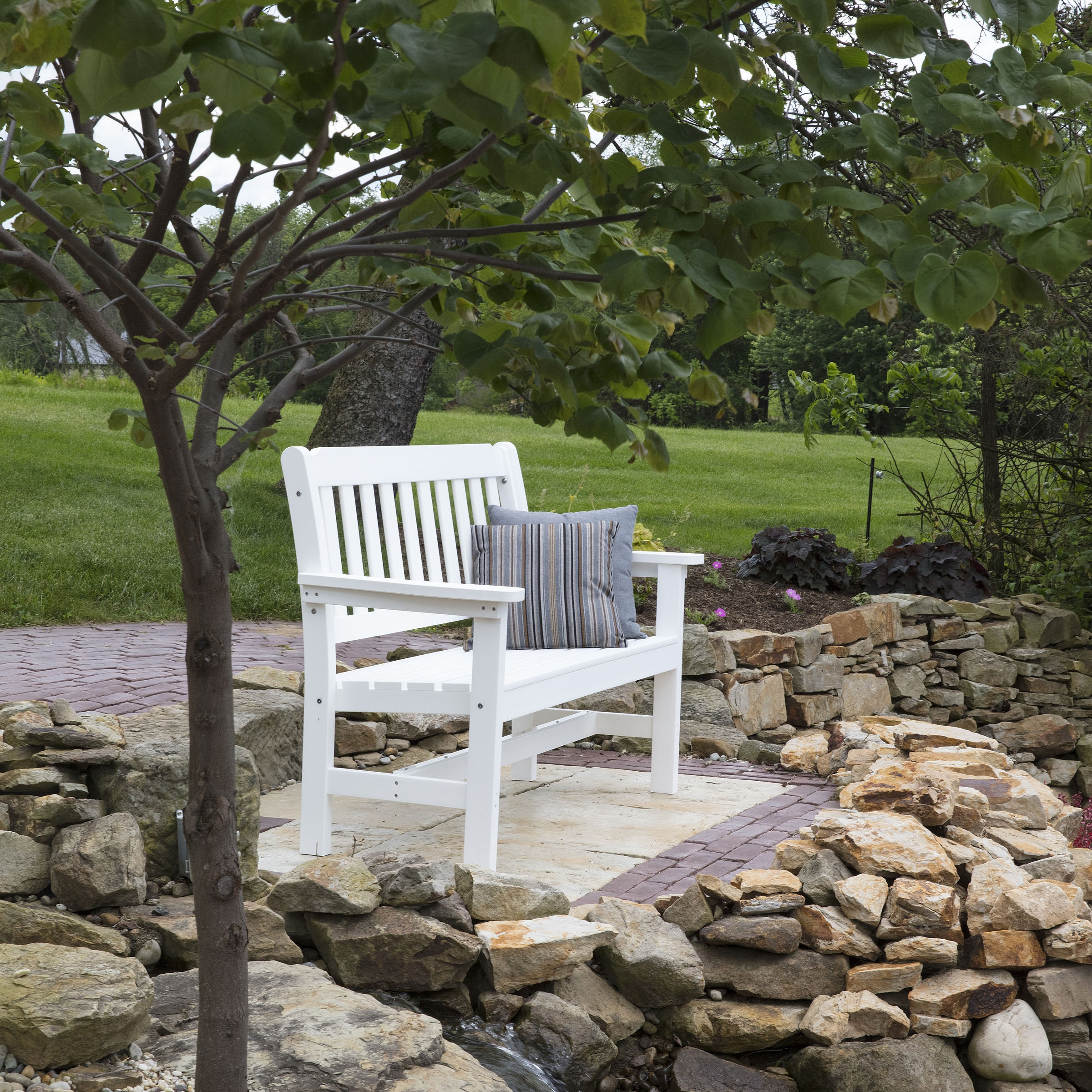 white products synthetic the highwood weatherly bench usa wood garden online buy