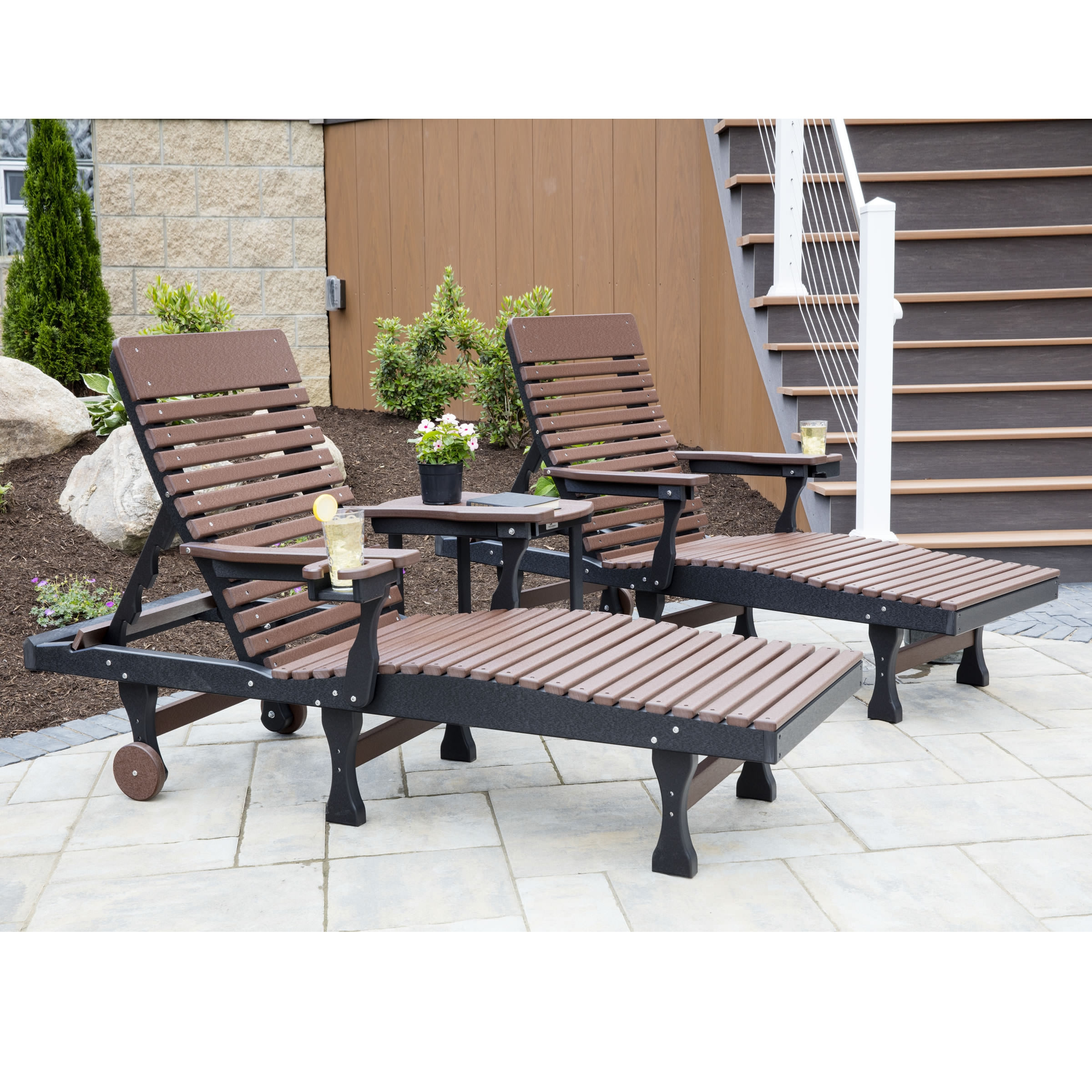 Berlin Gardens Casual-Back Chaise Lounge Seating Set