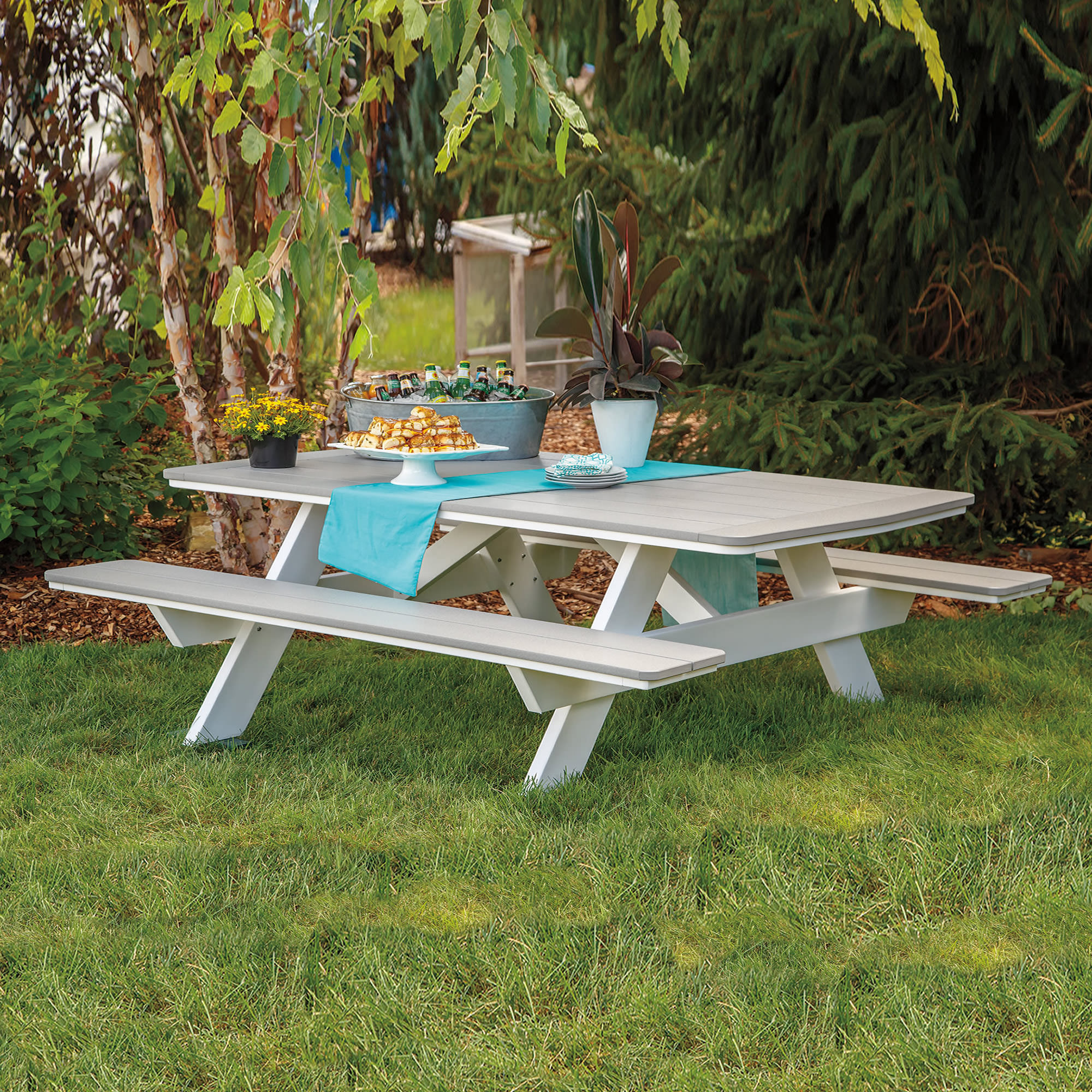 Casual Comfort Poly Lumber 84in Picnic Table w/Benches