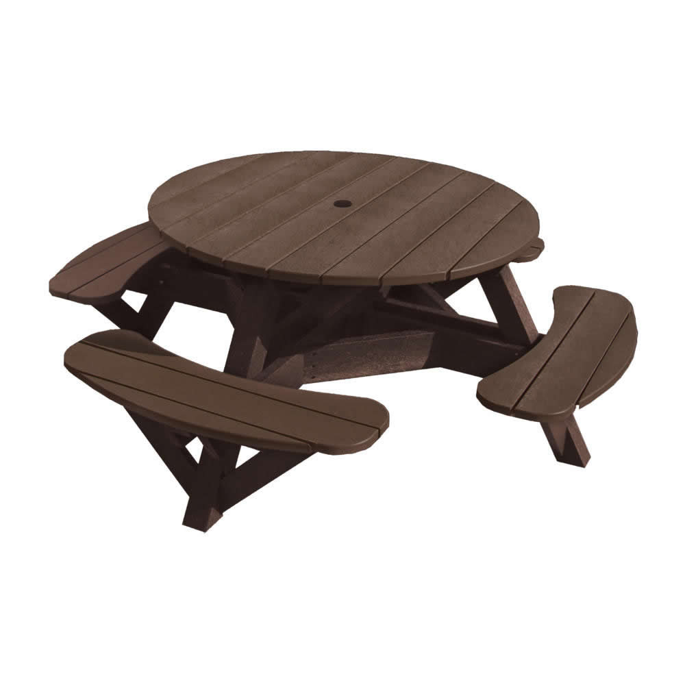 CR Plastics Generations 51in Round Picnic Table - Color Frame