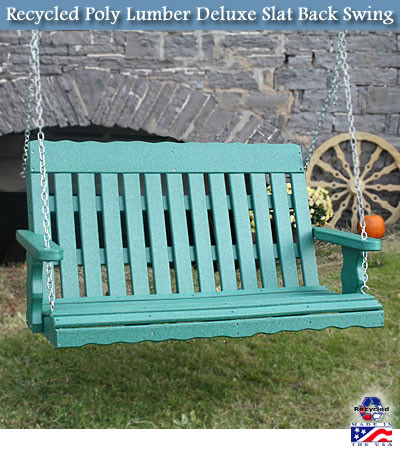 Recycled Poly Lumber Deluxe Slat Back Porch Swing