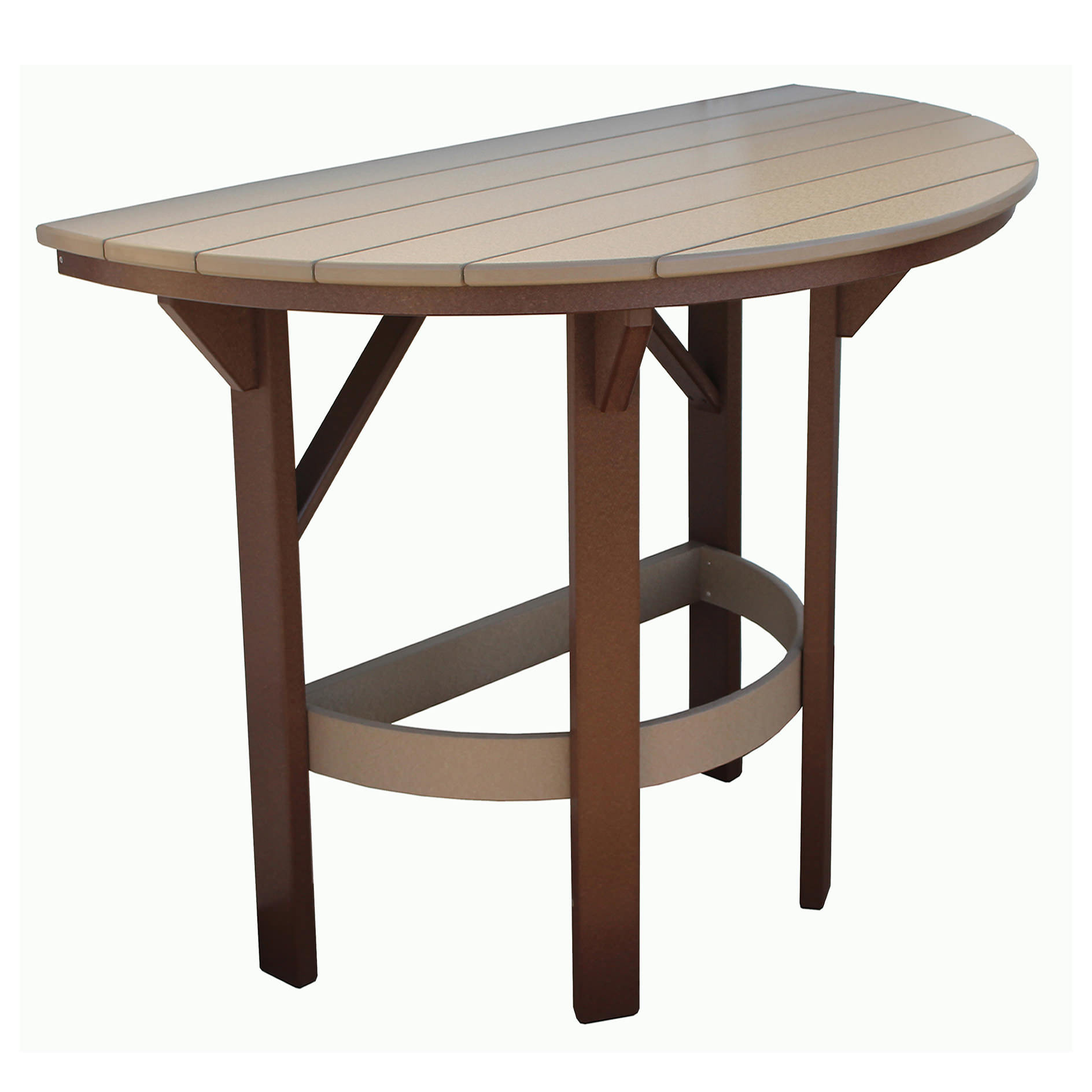 Amish Poly 60in Half Round Bar Table