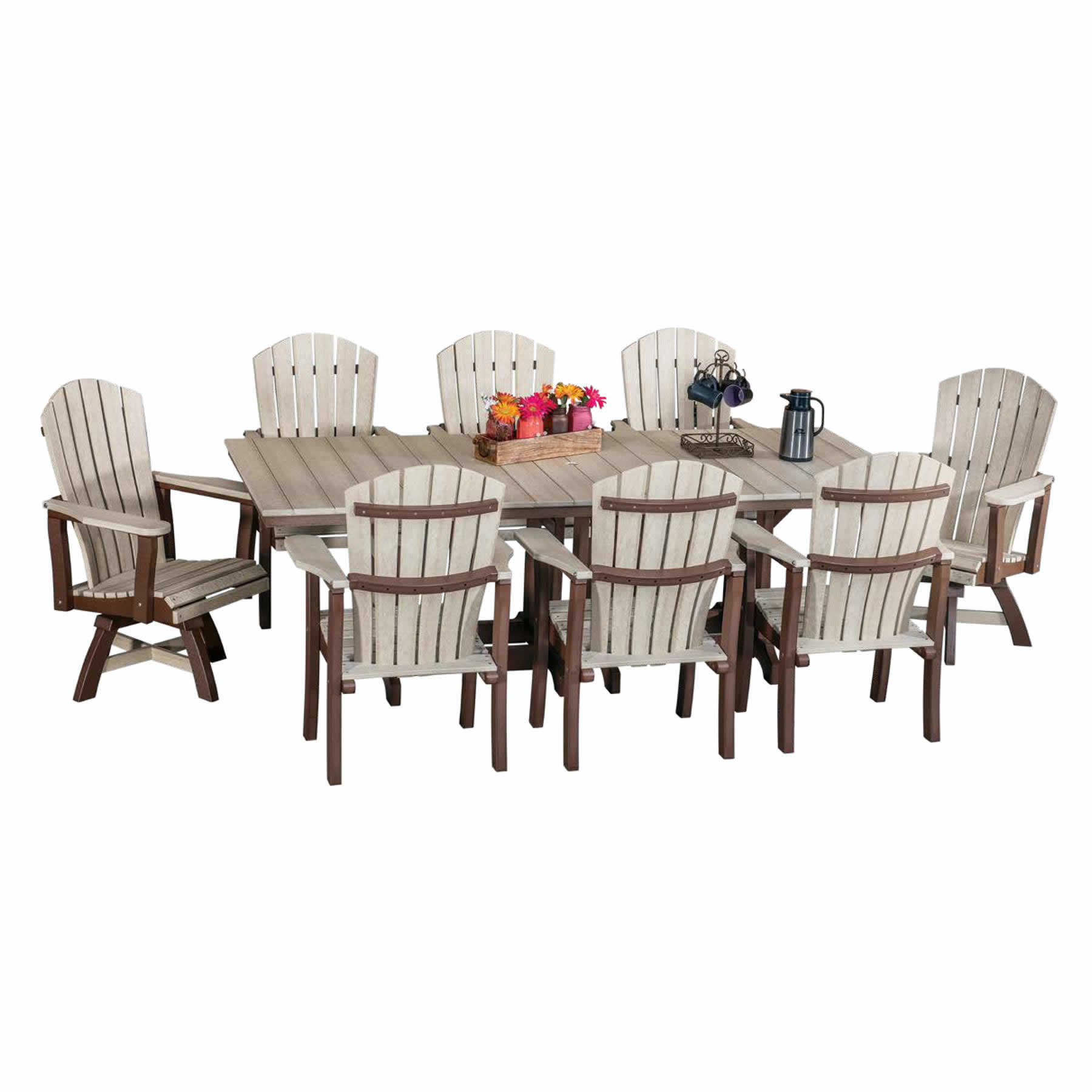 Indiana Amish Poly 9pc Hoosier Dining Set