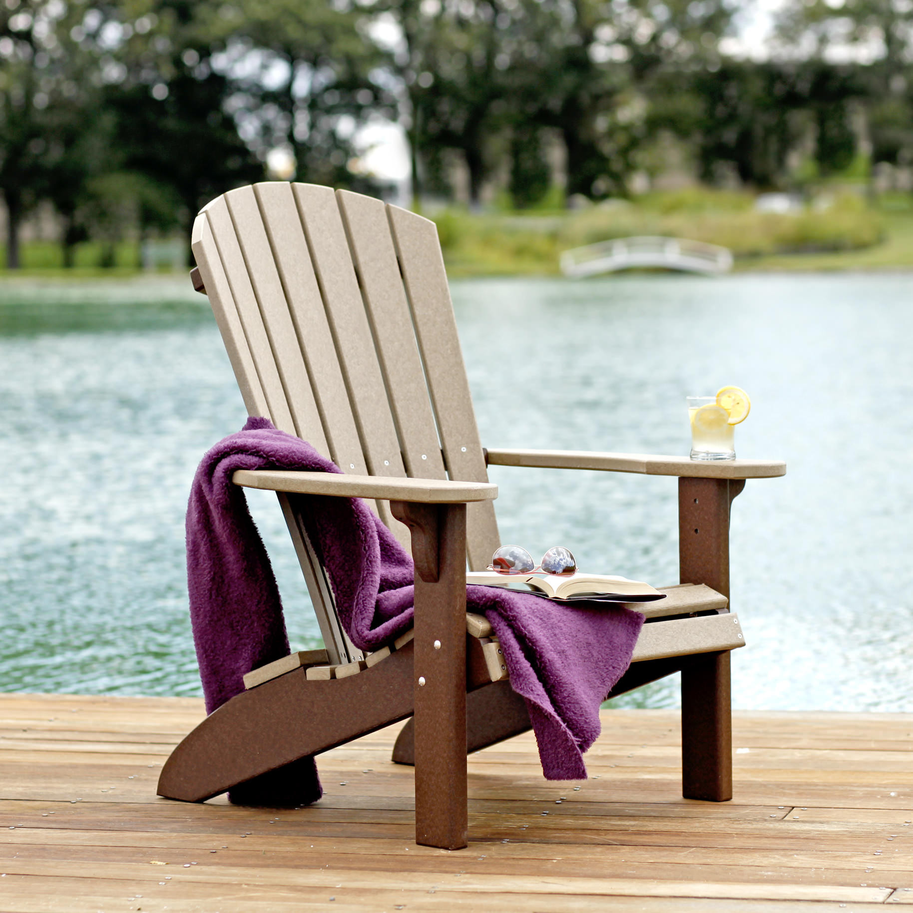 Amish Poly Wood Fan-Back Adirondack Chair