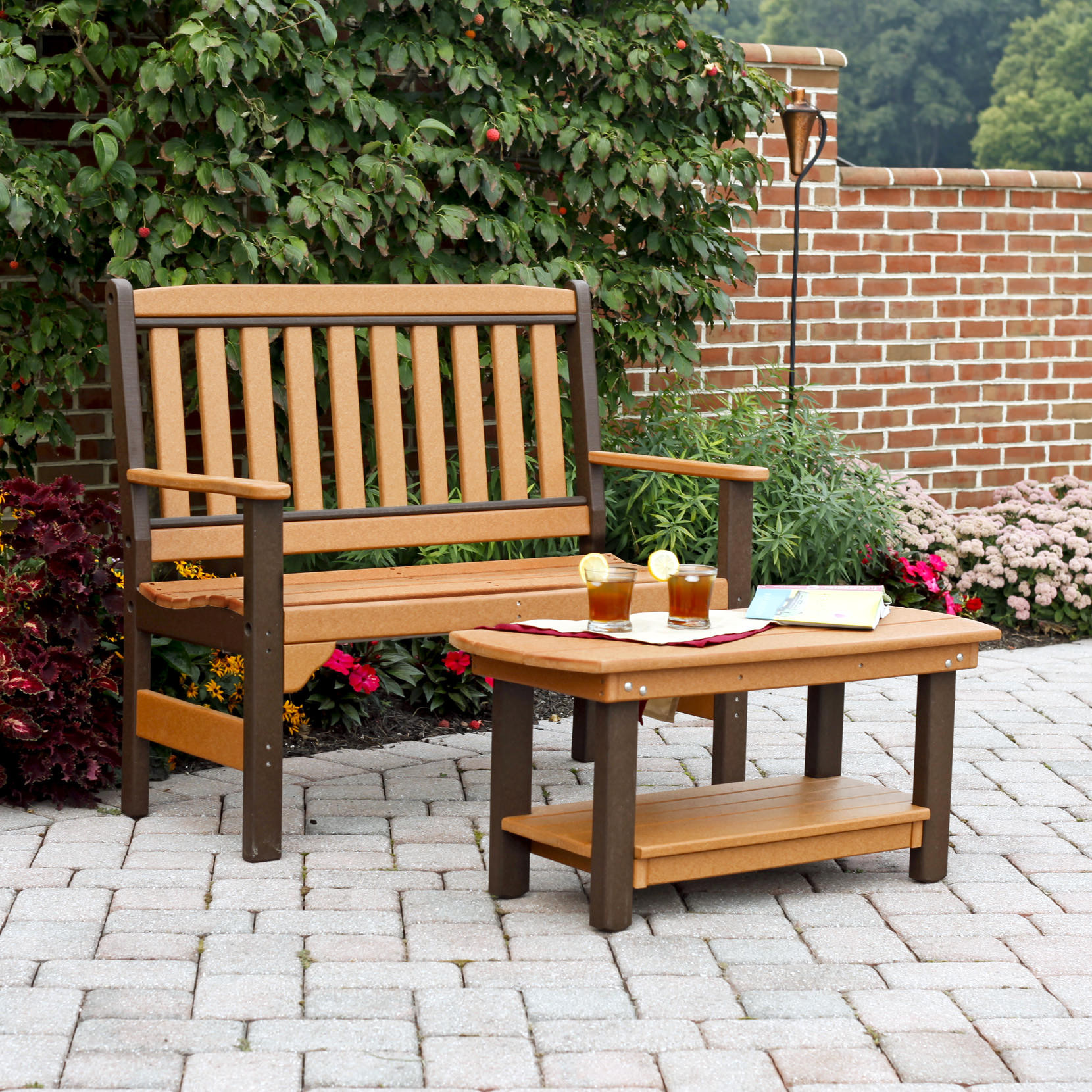Amish Poly English Garden Bench & Coffee Table Set