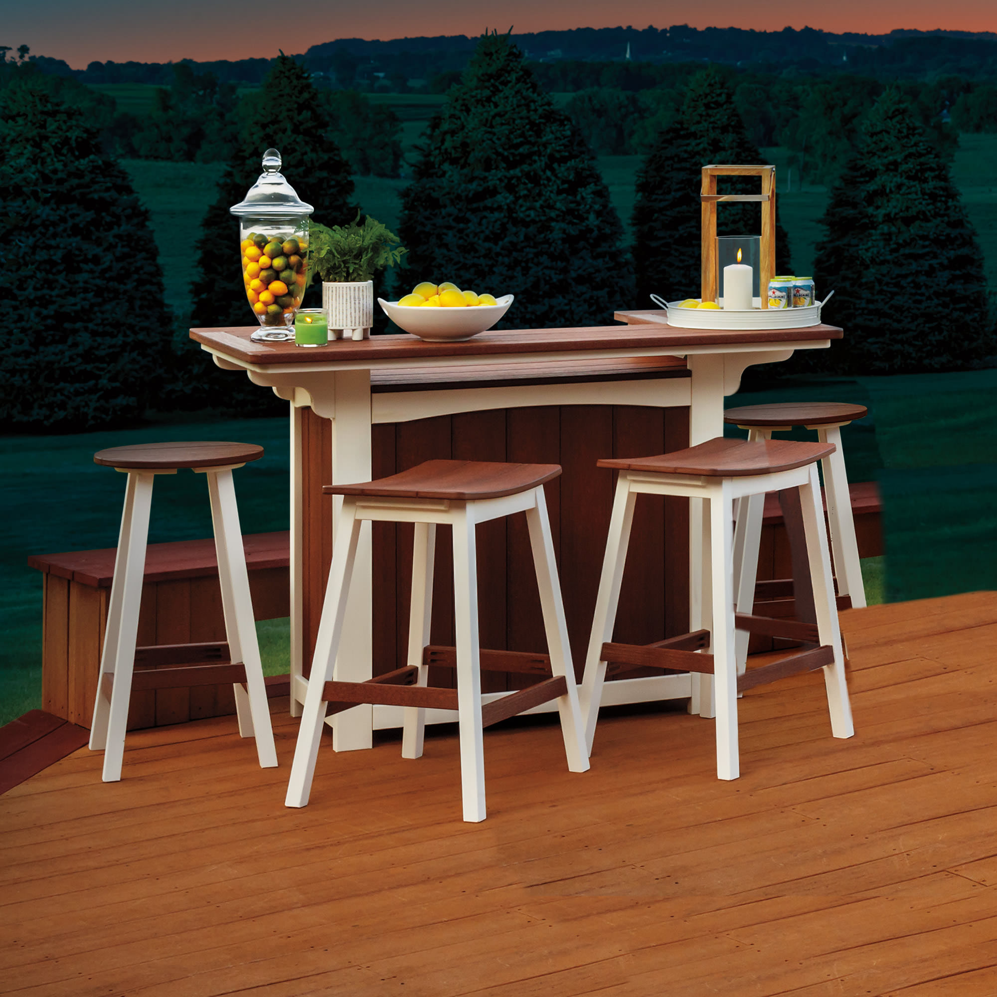 Casual Comfort Poly Lumber 5pc Bar-Saddle Stool Set