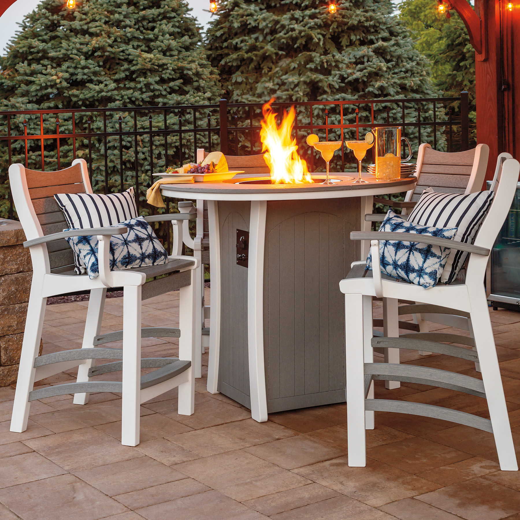 Casual Comfort Poly Lumber Bayshore 5pc Bar Fire Table Set