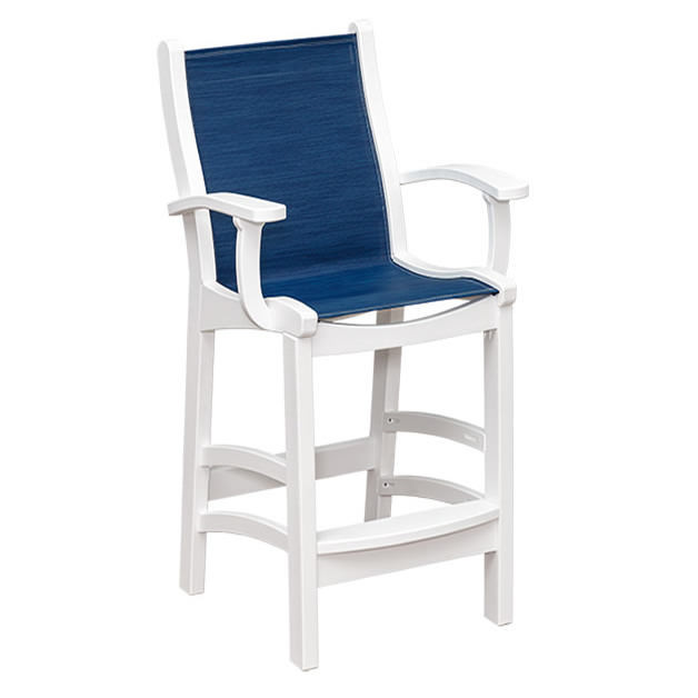 Casual Comfort Poly Lumber Bayshore Sling Bar Chair w/Arms