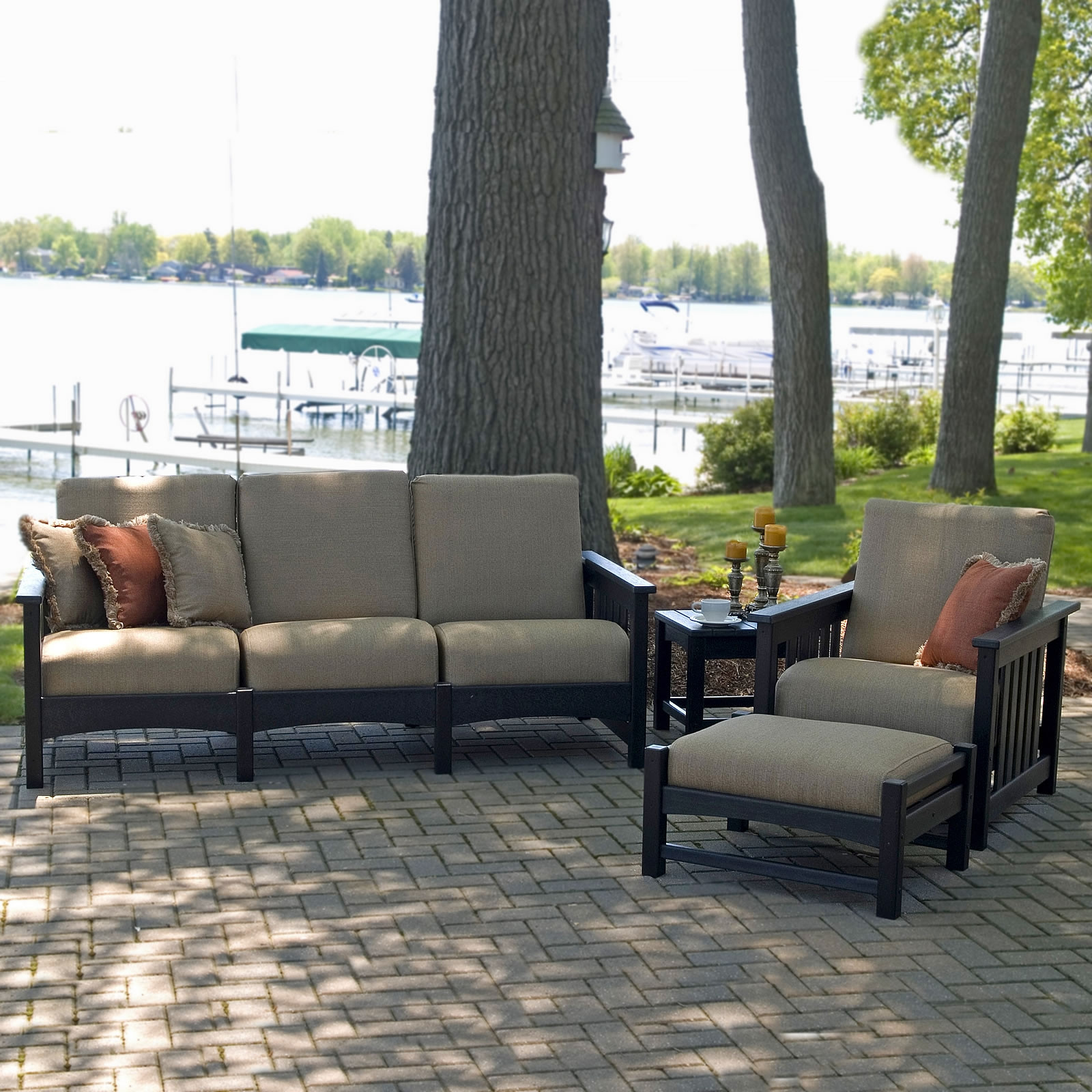 POLYWOOD® 4 Piece Outdoor Living Patio Set - Mission ... on Outdoor Living Set id=28705