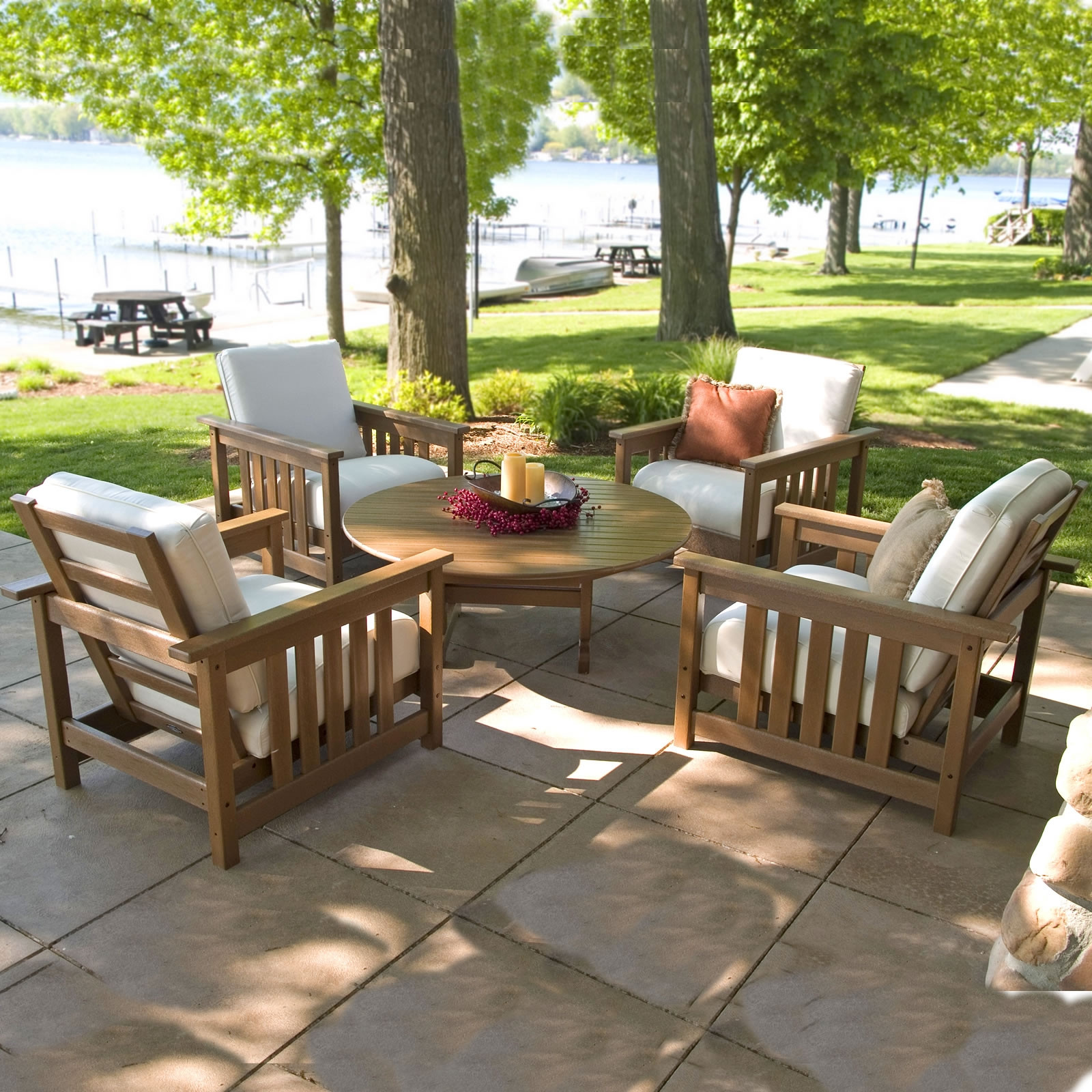 Polywood 5 piece conversation set mission collection for Outdoor living patio furniture