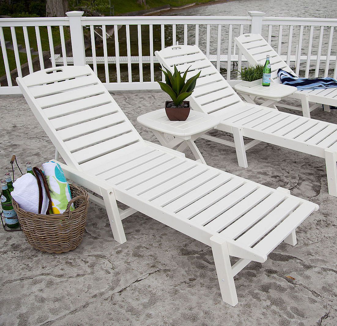 Polywood Nautical Armless Chaise Lounge Nautical