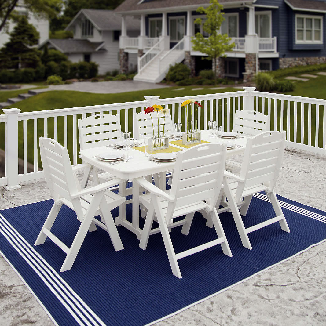 POLYWOOD Nautical High Back 6 Chair Dining Set