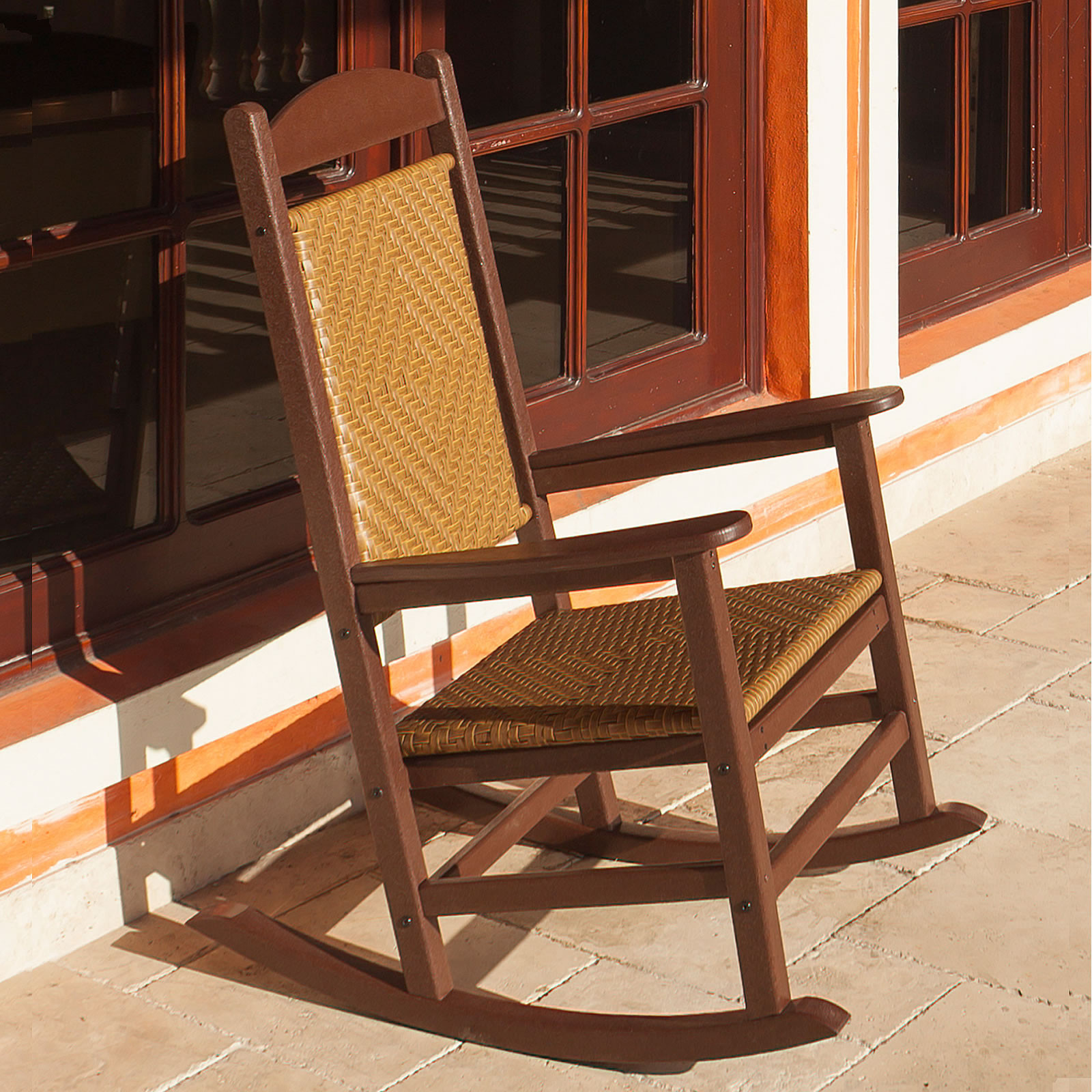 polywood presidential rocker with woven seat and back rocking