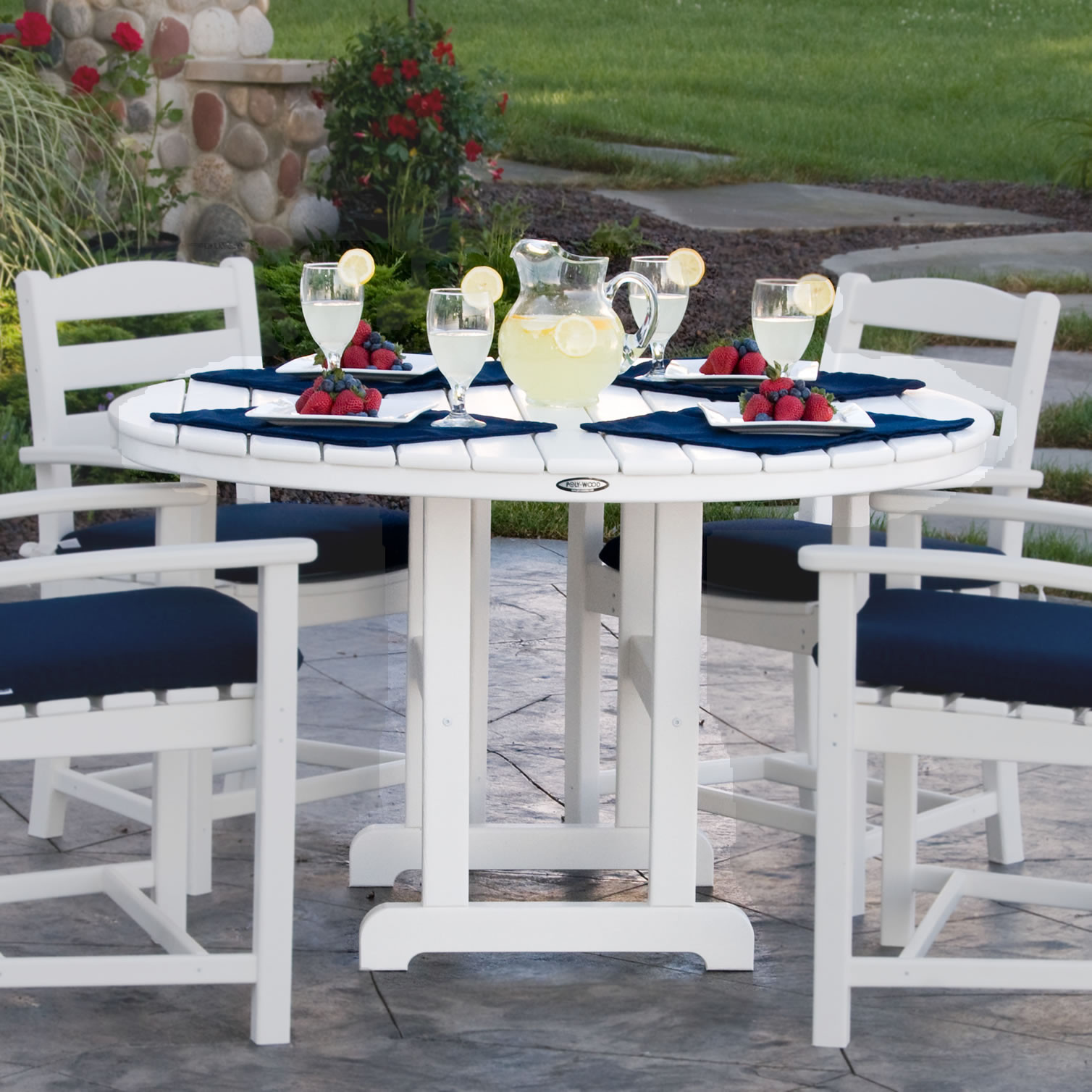 POLYWOOD® Round 48 Inch Dining Table - POLYWOOD® Round 48 Inch Dining Table - Traditional Garden - POLYWOOD