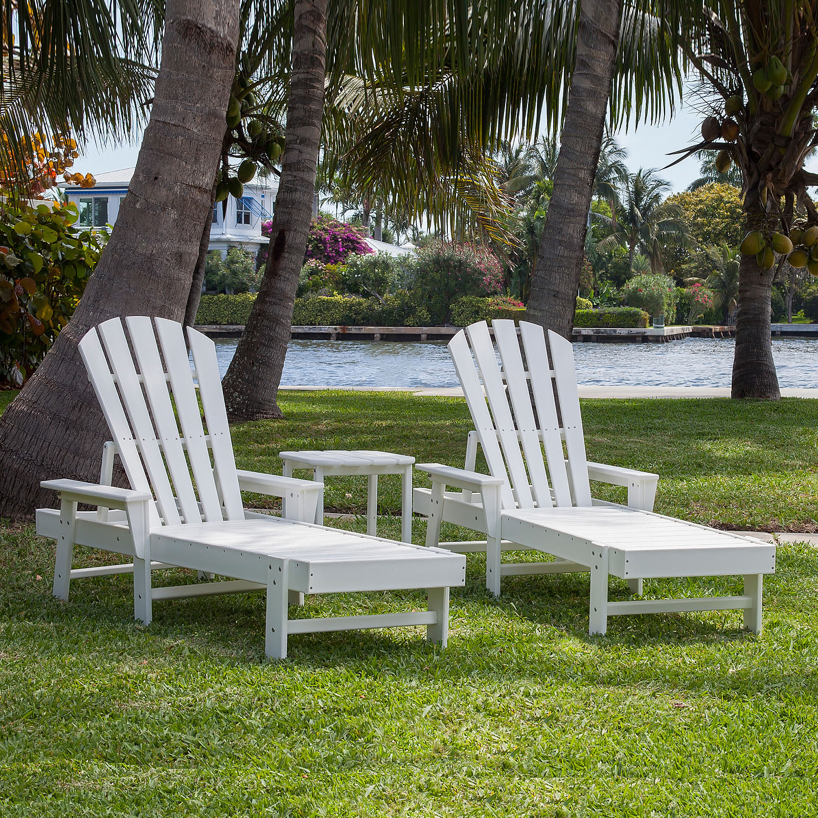 Polywood south beach chaise set south beach polywood for Breezy beach chaise