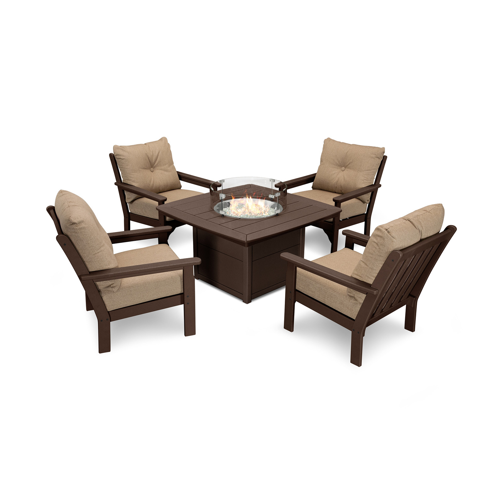 POLYWOOD Vineyard 5-pc Conversation Set with Fire Pit Table
