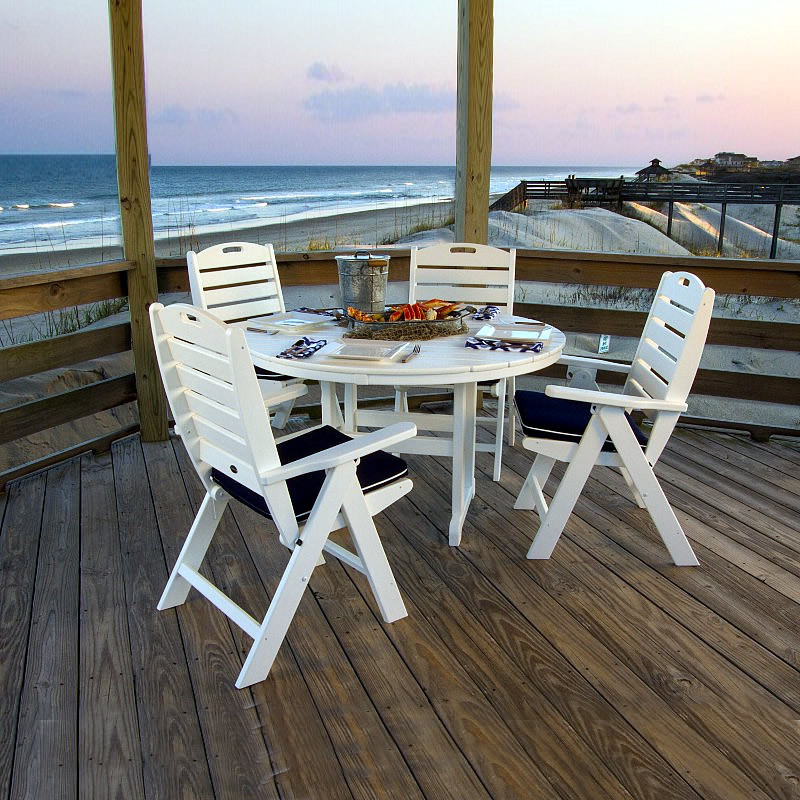 POLYWOOD Nautical Highback 5 Piece Dining Set