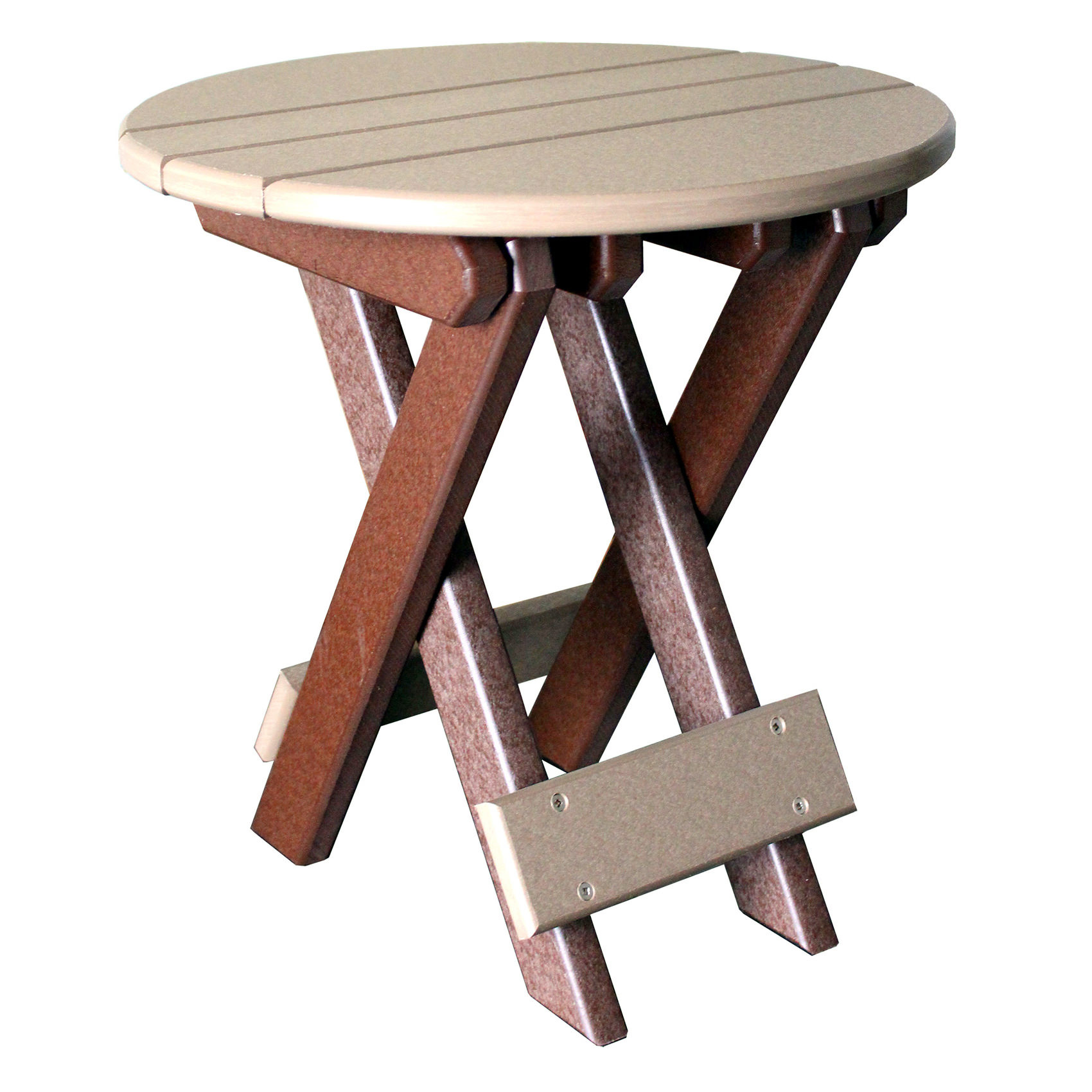 Amish Poly Round Folding End Table