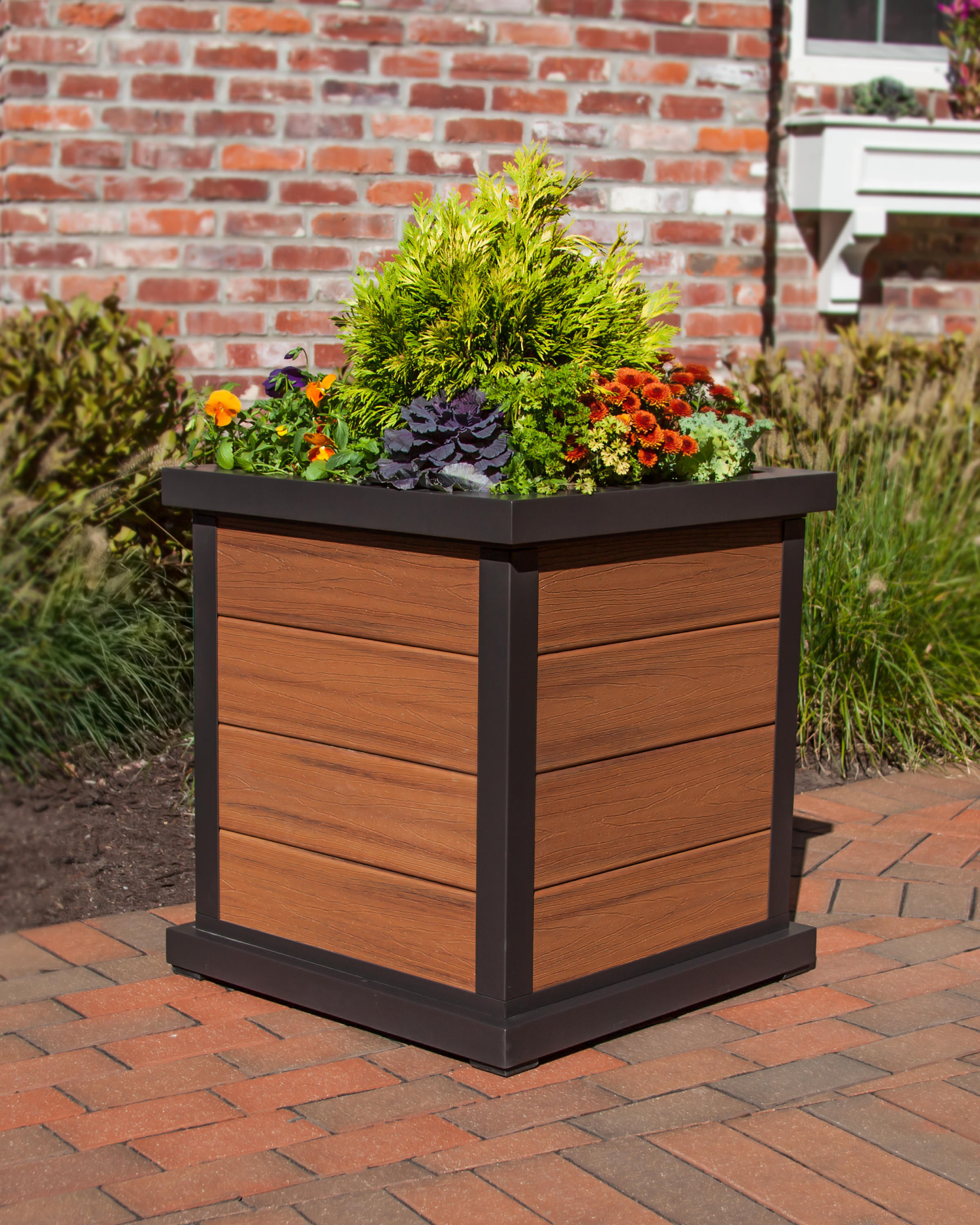 Composite Pvc Planter Boxes For Decks And Patios: Trex® Outdoor Furniture Cube 24 In Planter 4-Board