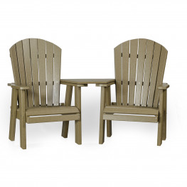 Amish Poly Fan-Back Balcony Settee - Dining Height