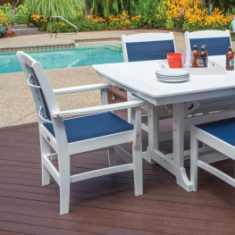 Malibu Outdoor Maywood Sling Dining Arm Chair - (Sold in Pairs)