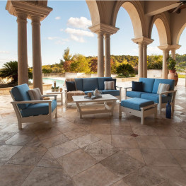 POLYWOOD Harbour Collection 6-Piece Outdoor Living Set with Accent Pillows