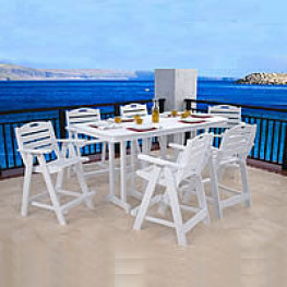 POLYWOOD Nautical 37x72 Counter Dining Set