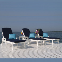 POLYWOOD® Nautical Chaise Lounge Set