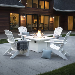 POLYWOOD® Nautical Curveback Adirondack 5-Piece Conversation Set with Fire Table