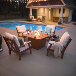 POLYWOOD® Braxton 5-Piece Deep Seating Conversation Set with Fire Pit Table