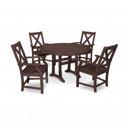POLYWOOD® Braxton 5-Piece Nautical Trestle Arm Chair Dining Set