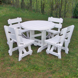 Recycled Poly Lumber 40 in Round Picnic Table Set