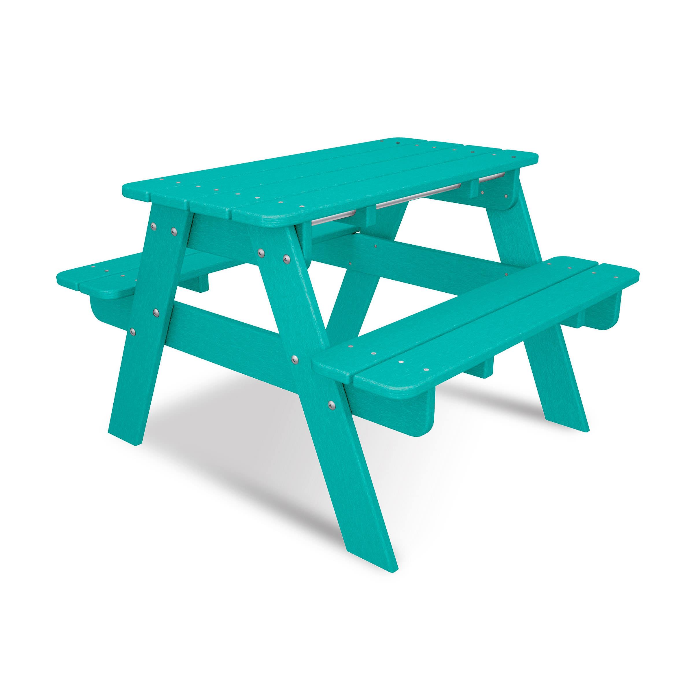 POLYWOOD Kid Picnic Table Kids Collections - Teal picnic table